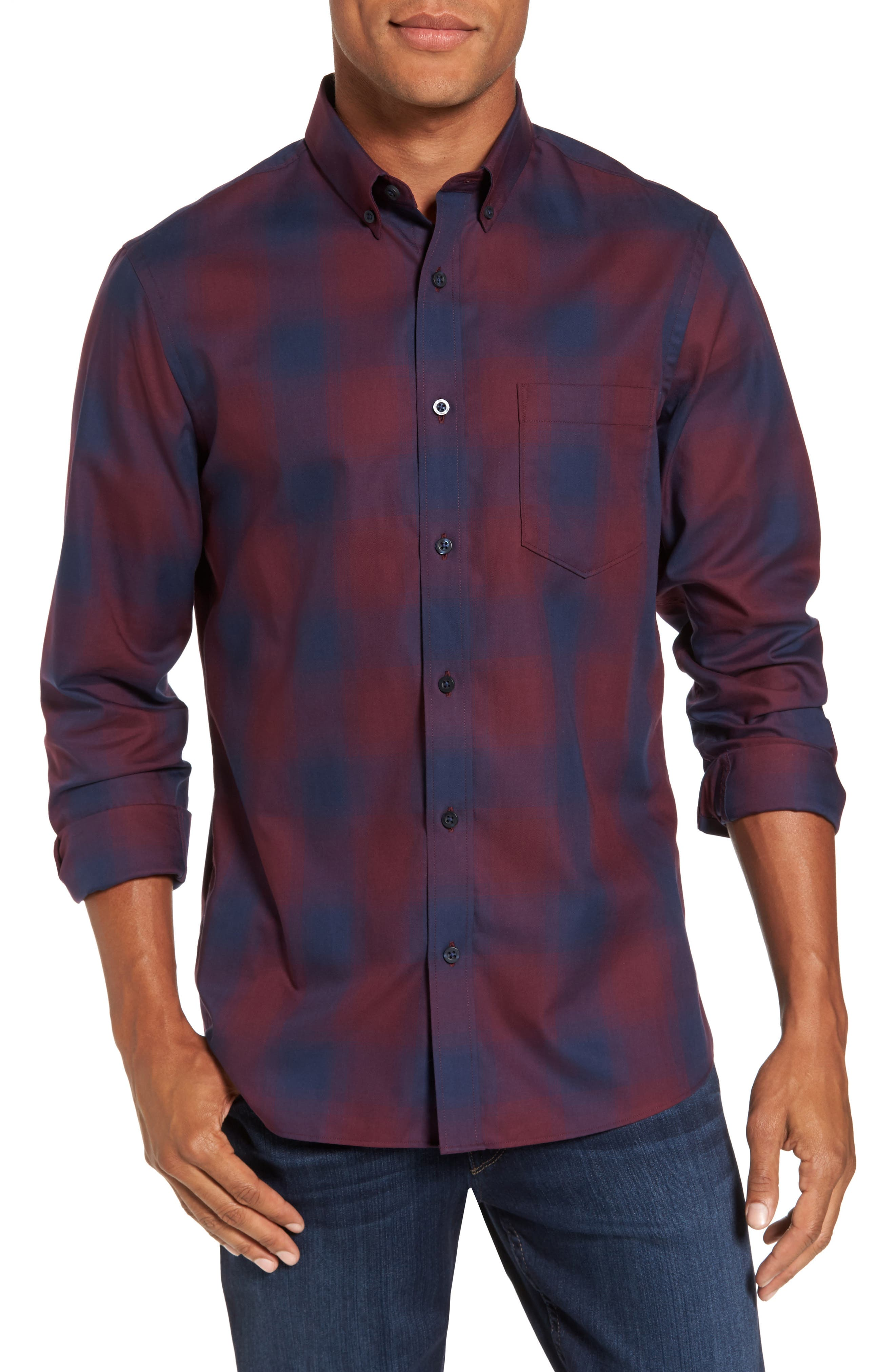 Nordstrom Men's Shop Slim Fit Check Sport Shirt (Regular & Tall)
