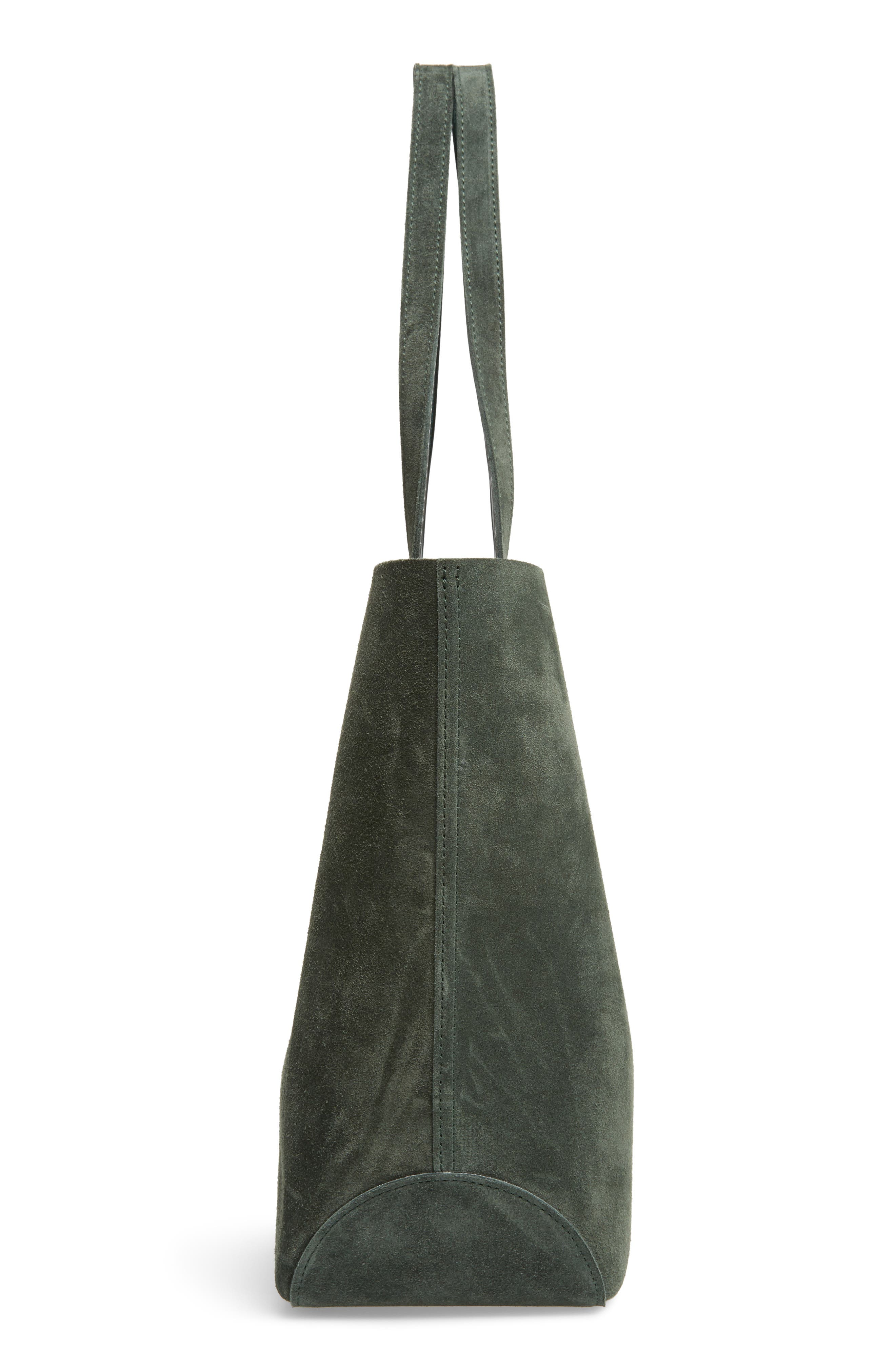 Shop It Suede Tote,                             Alternate thumbnail 5, color,                             Fir Green