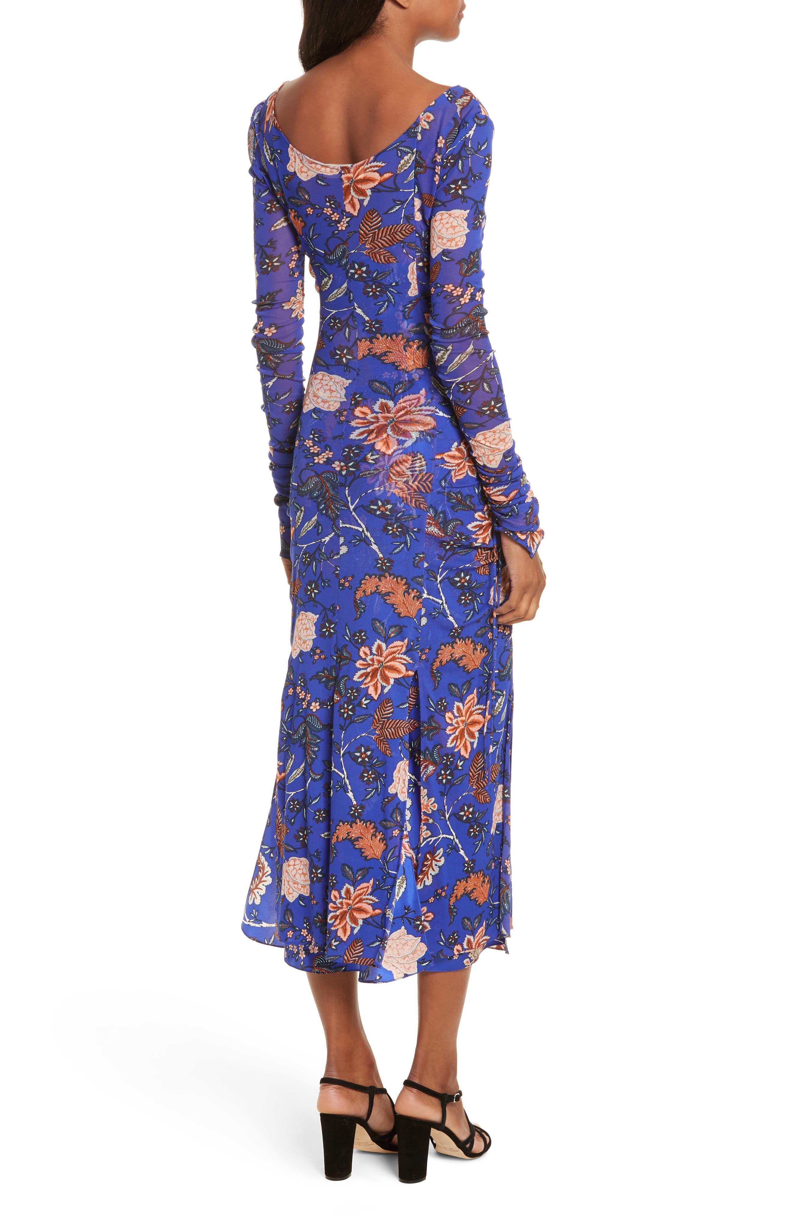 Diane von Furstenberg Mesh Overlay Floral Midi Dress,                             Alternate thumbnail 2, color,                             Canton Electric Blue
