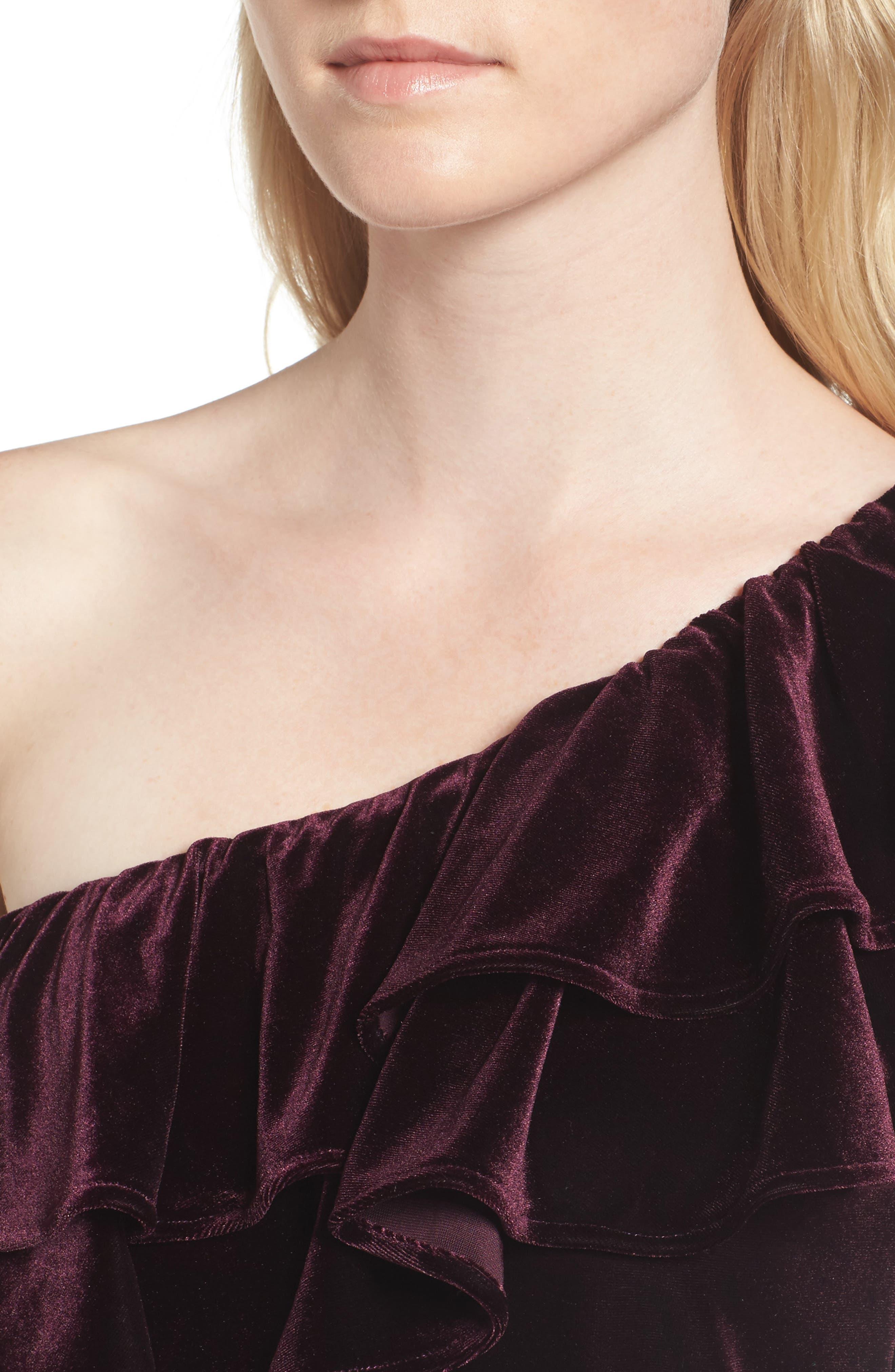 Agus One-Shoulder Velvet Top,                             Alternate thumbnail 4, color,                             Plum Velvet