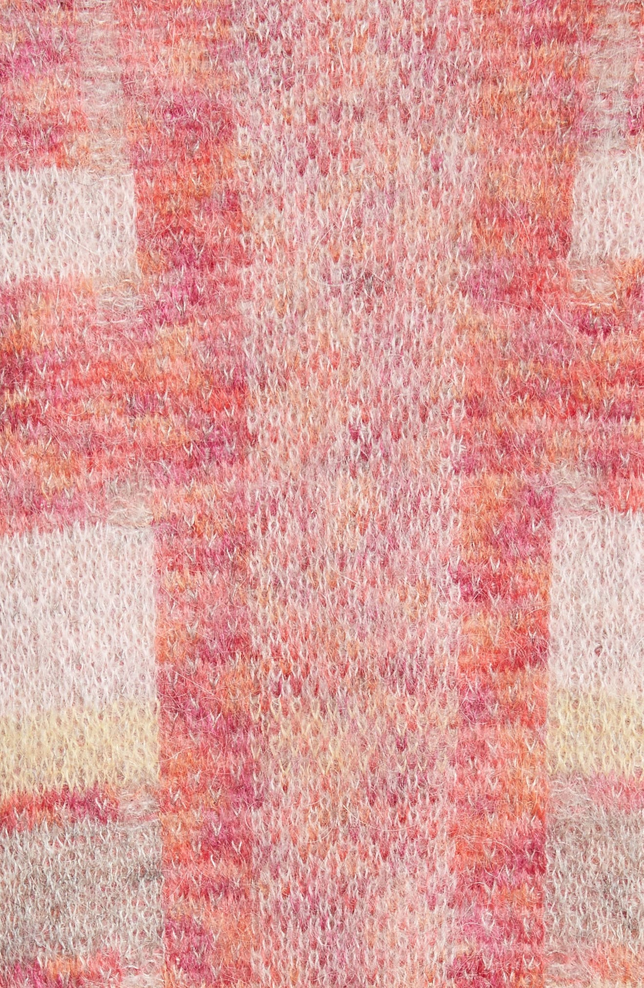 Lofty Knit Plaid Blanket Coat,                             Alternate thumbnail 5, color,                             Bright Coral Multi