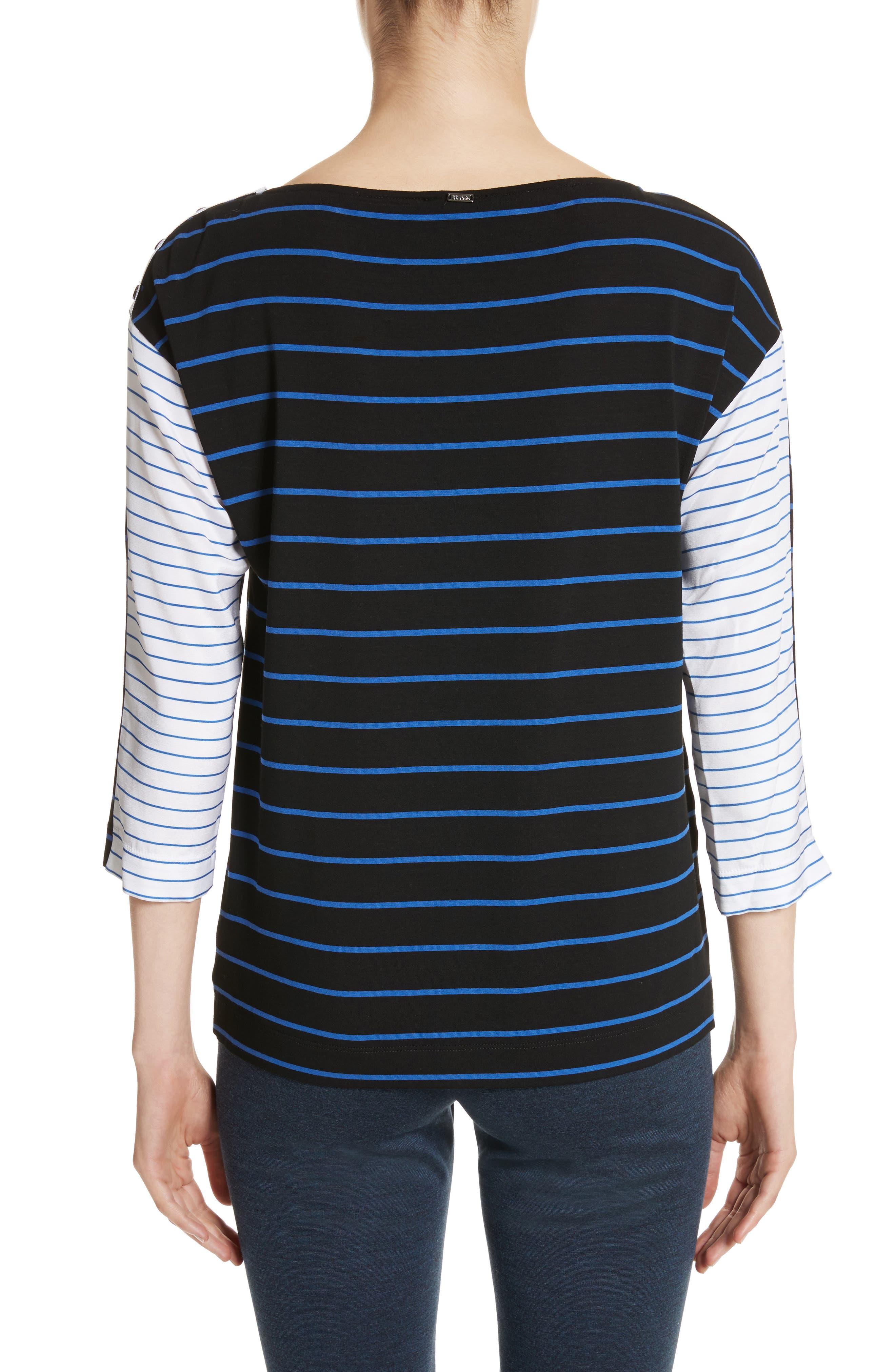 Yarn Dyed Stripe Jersey Top,                             Alternate thumbnail 2, color,                             Caviar/ Niagara/ Bianco