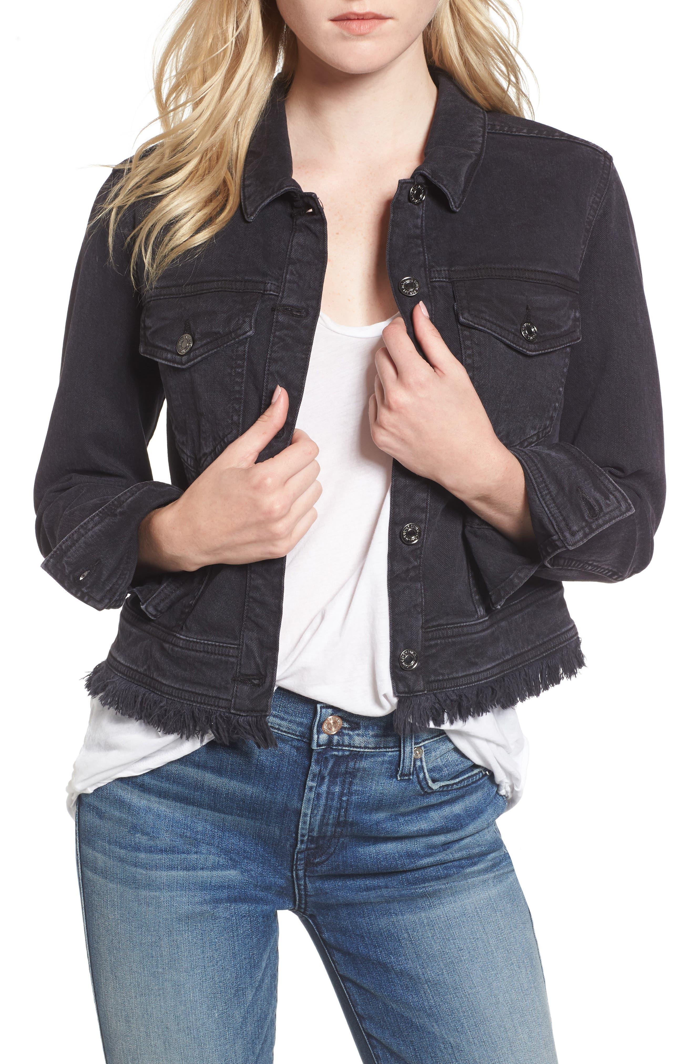 Embellished Boyfriend Denim Jacket,                         Main,                         color, Vintage Bedford Black