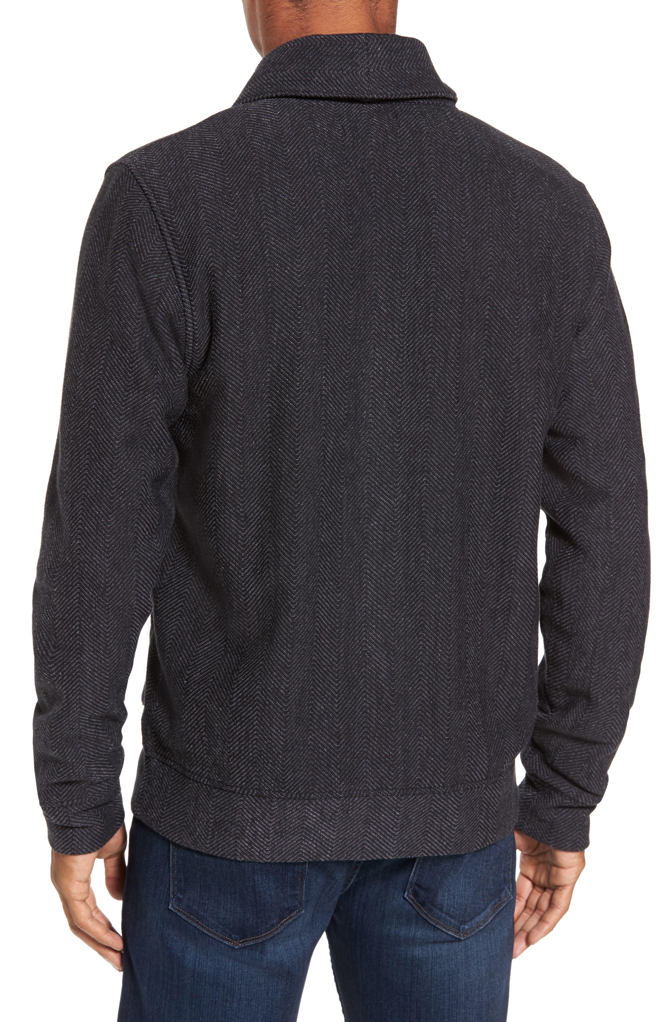 Fleece Lined Shawl Collar Cardigan,                             Alternate thumbnail 2, color,                             Grey Phantom Herringbone
