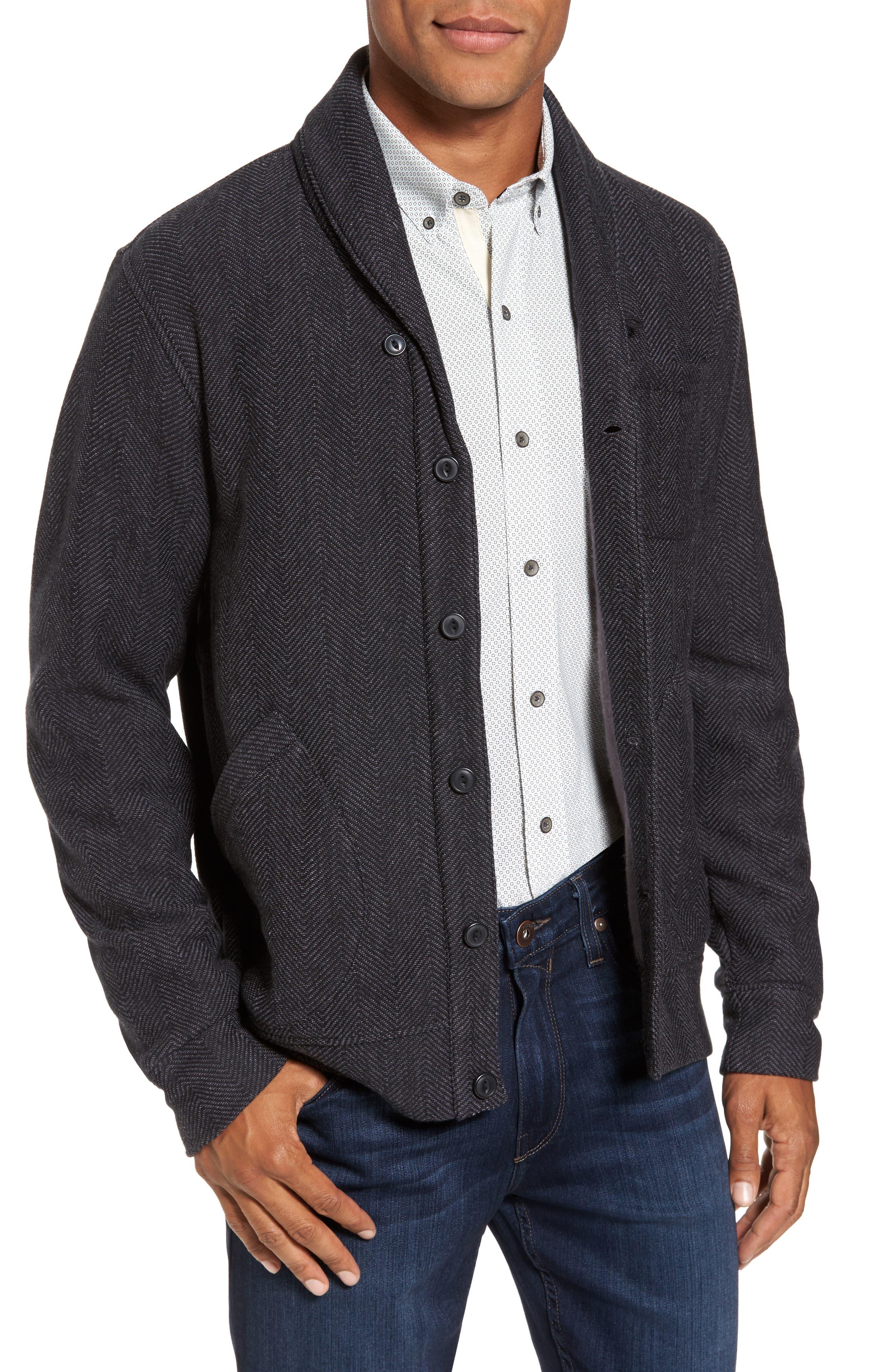 Fleece Lined Shawl Collar Cardigan,                             Main thumbnail 1, color,                             Grey Phantom Herringbone