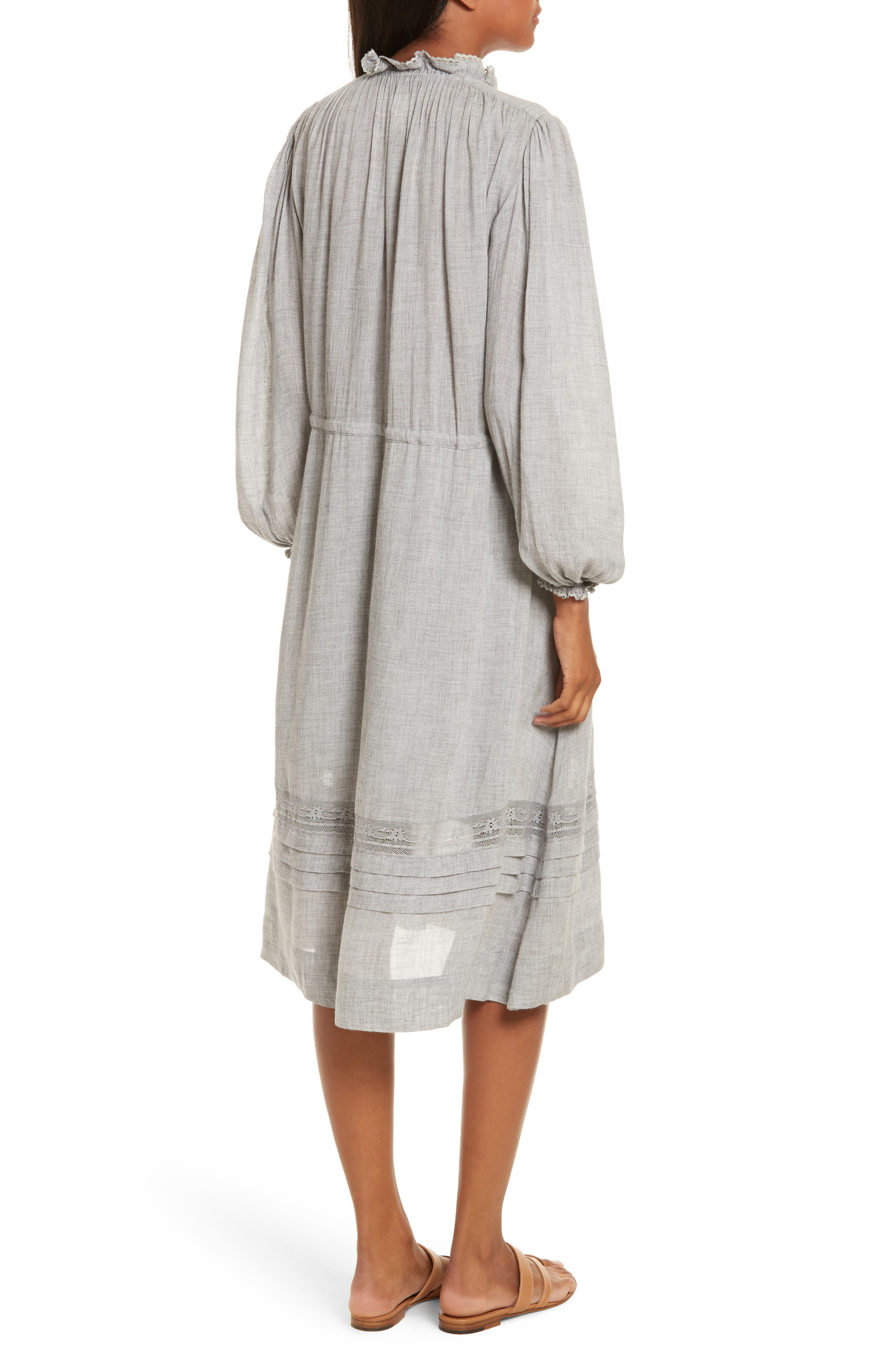 Lace Trim Gauze Drawstring Midi Dress,                             Alternate thumbnail 2, color,                             Heather Grey