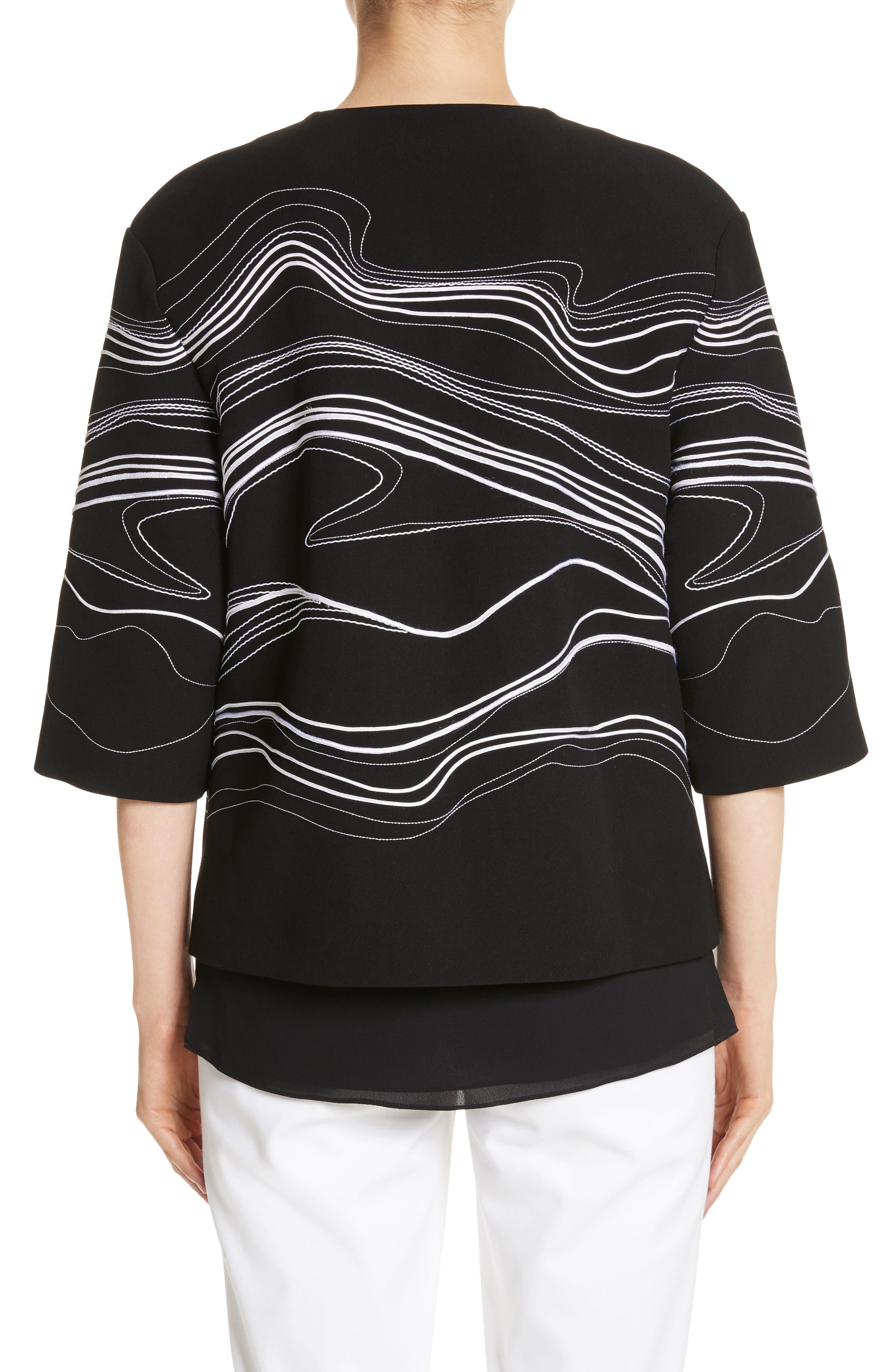 Bella Brushstroke Double Weave Jacket,                             Alternate thumbnail 2, color,                             Caviar/ Bianco