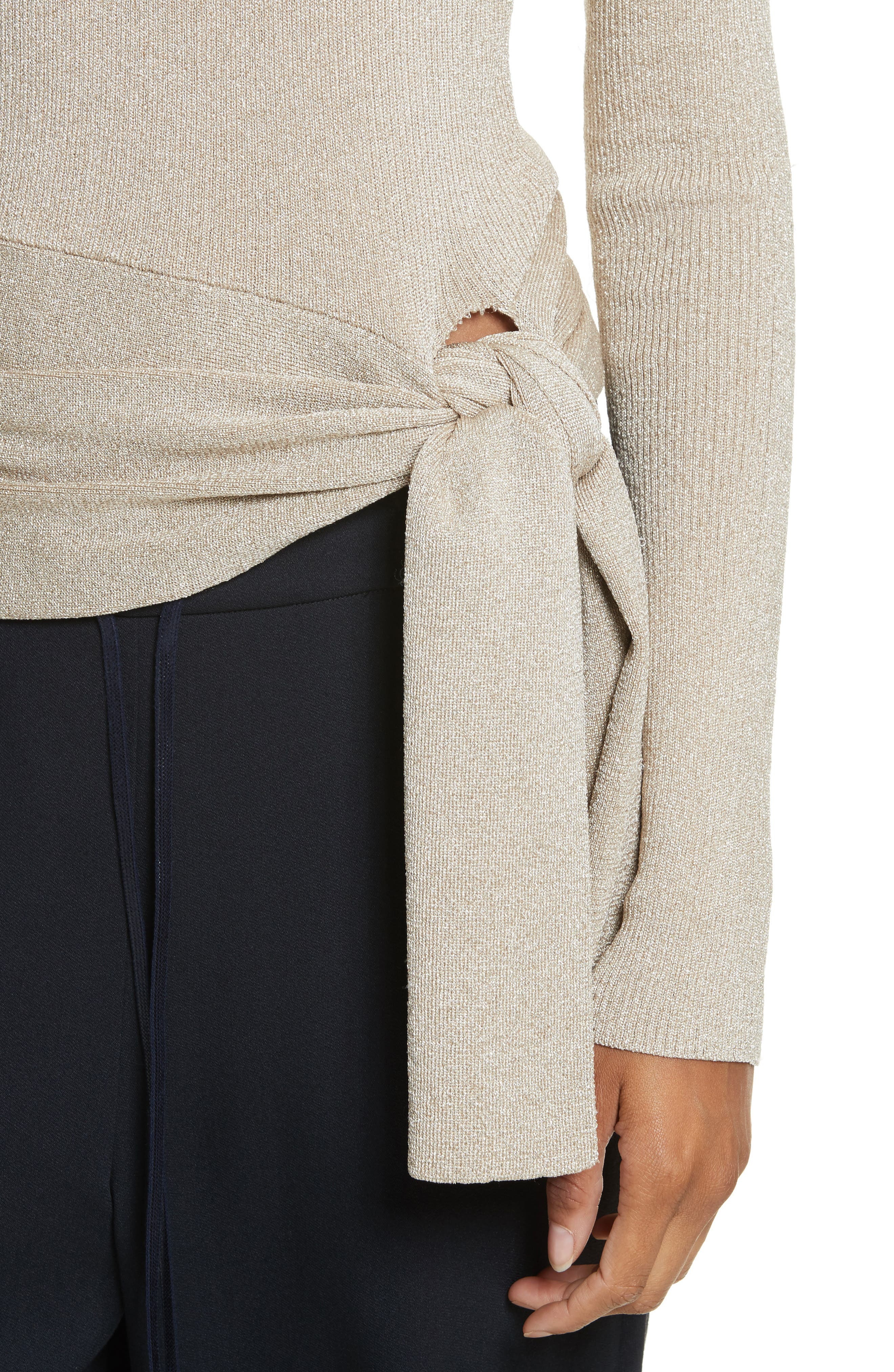Metallic Side Tie Sweater,                             Alternate thumbnail 4, color,                             Gold