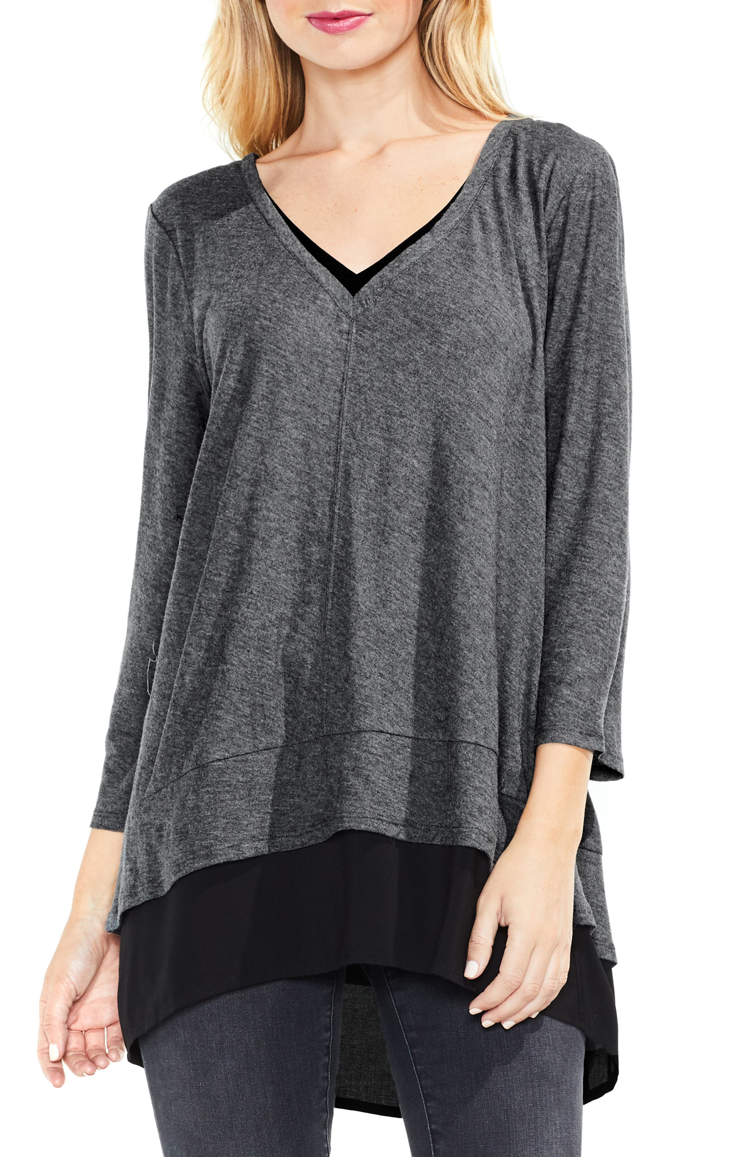 Two by Vince Camuto Mixed Media Tunic,                             Main thumbnail 1, color,                             Medium Heather Grey