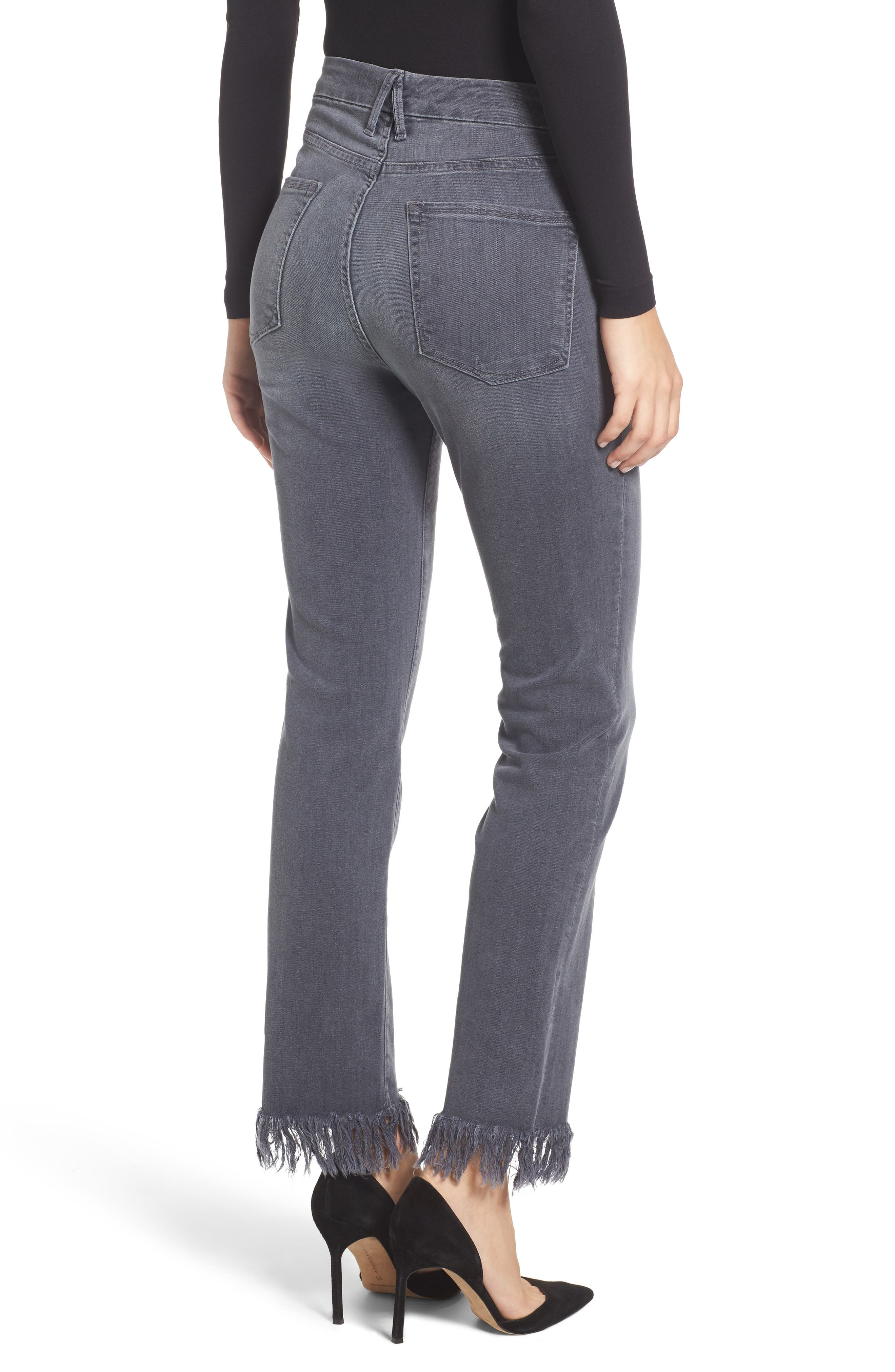 Alternate Image 3  - Good American Good Straight Crop Straight Leg Jeans (Grey 001) (Extended Sizes)