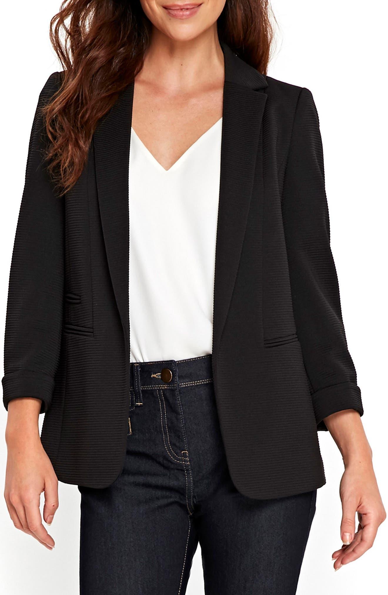 Ribbed Ponte Jacket,                         Main,                         color, Black