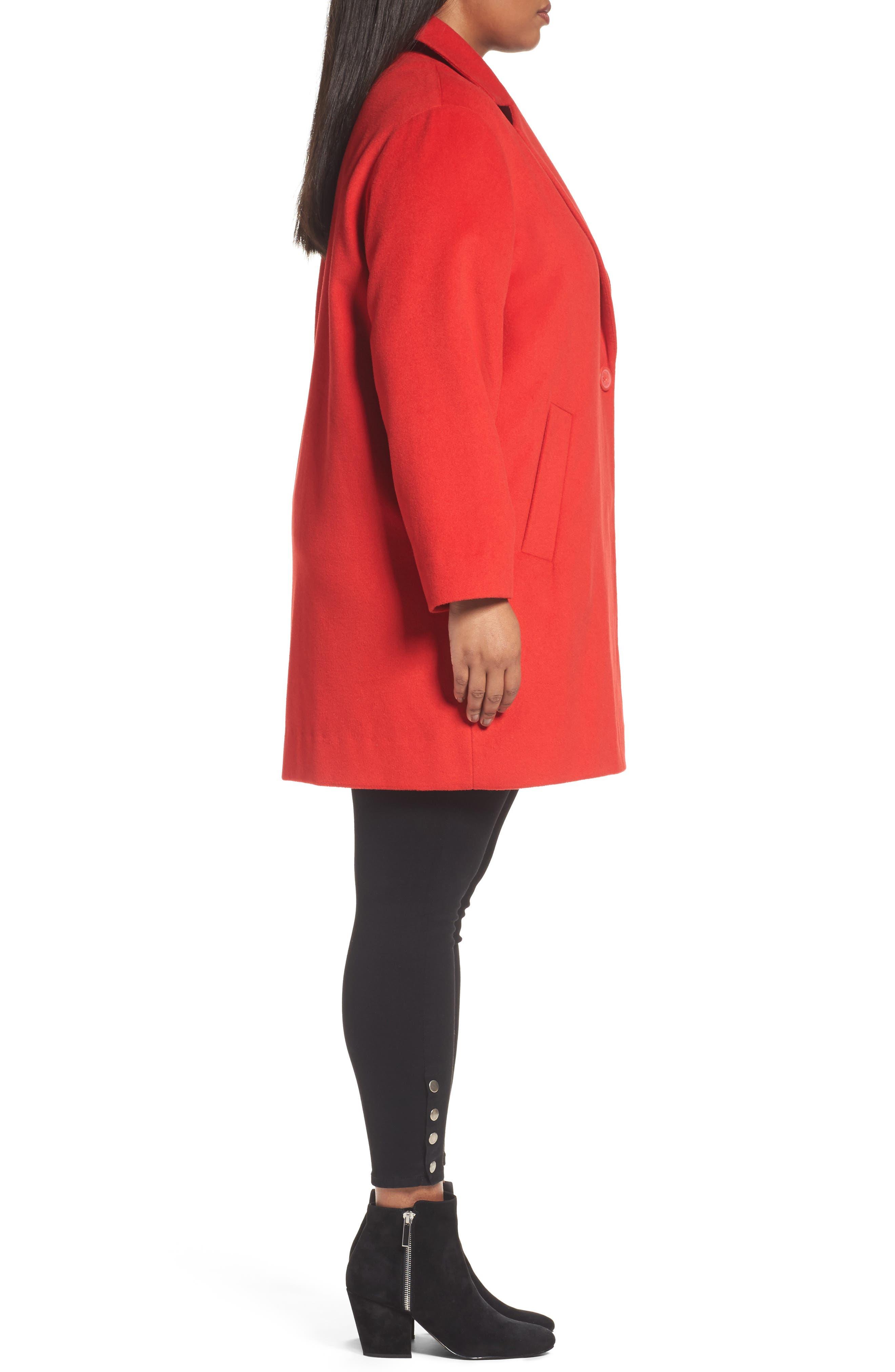 Wool Blend Coat,                             Alternate thumbnail 3, color,                             Red