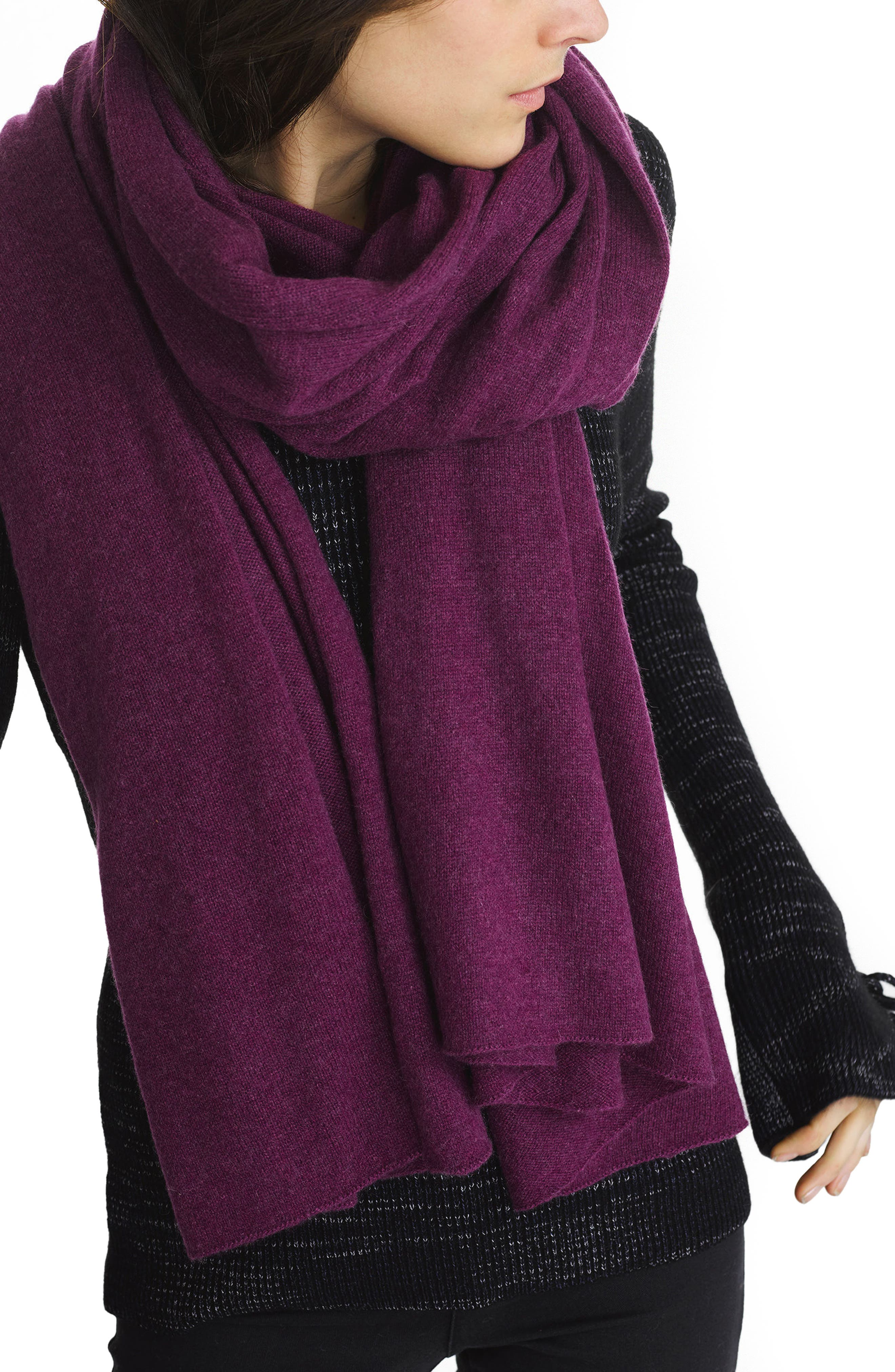 Travel Cashmere Wrap,                         Main,                         color, Elderberry Heather
