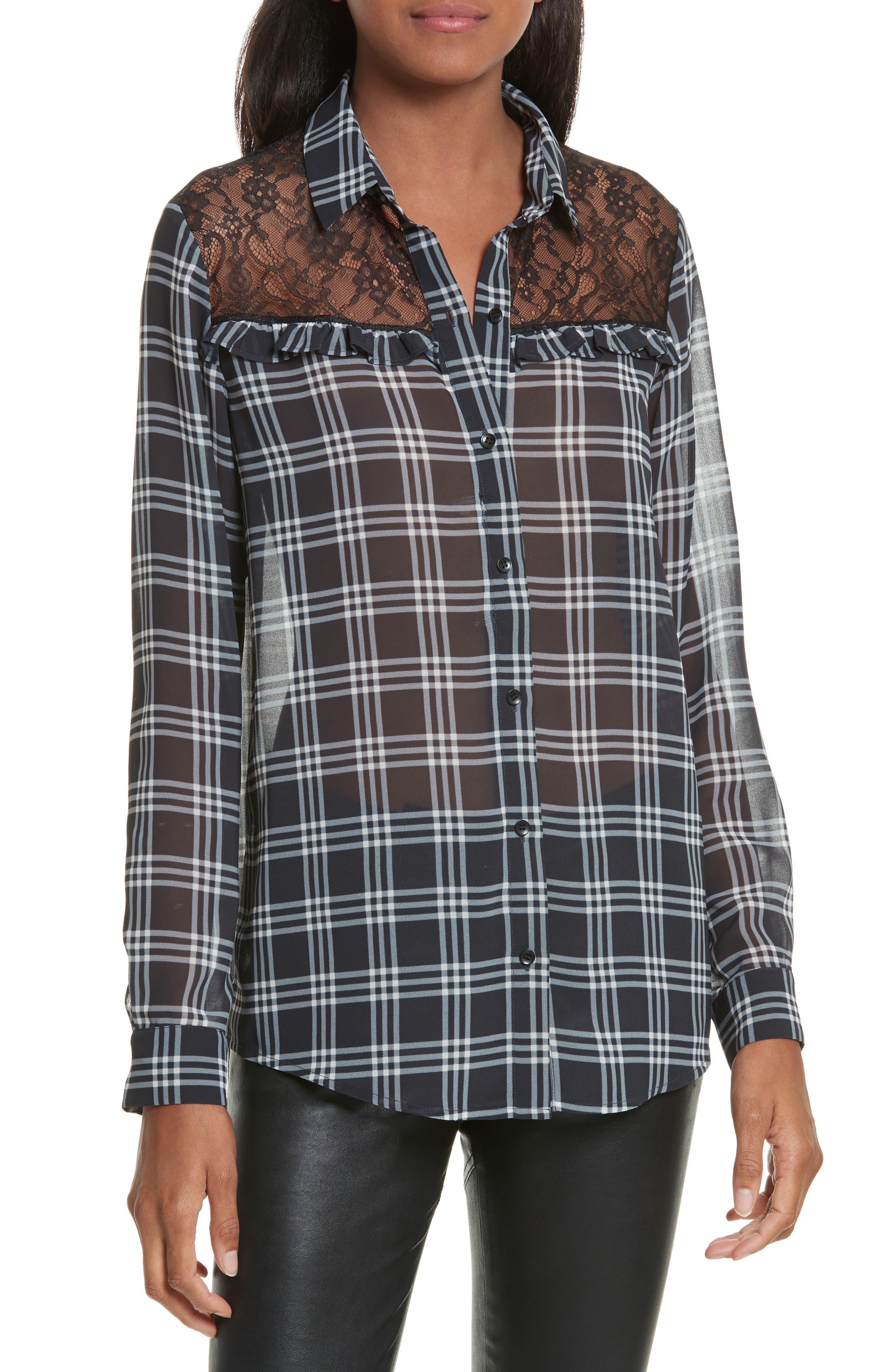Lace Yoke Plaid Shirt,                         Main,                         color, Black