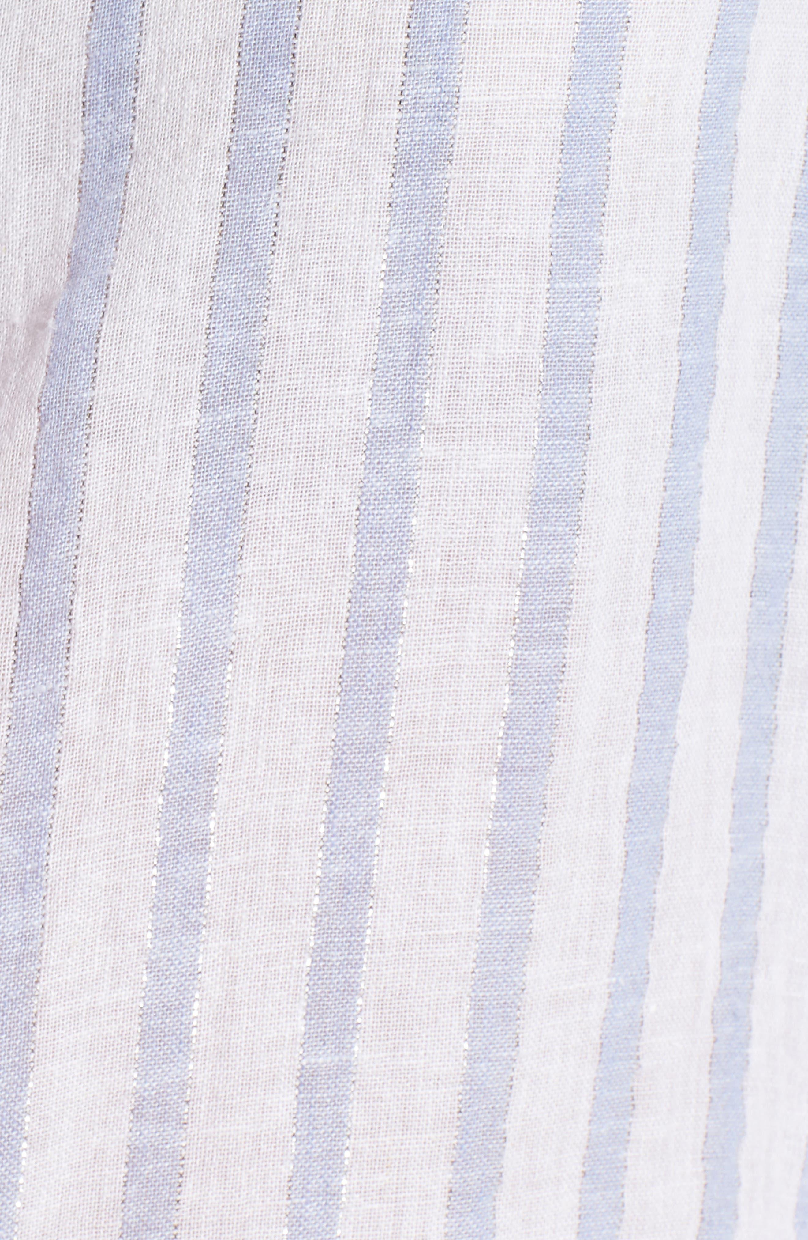 Sydney Vertical Shimmer Stripe Linen Blend Shirt,                             Alternate thumbnail 5, color,                             Cornflower Stripe/ Silver