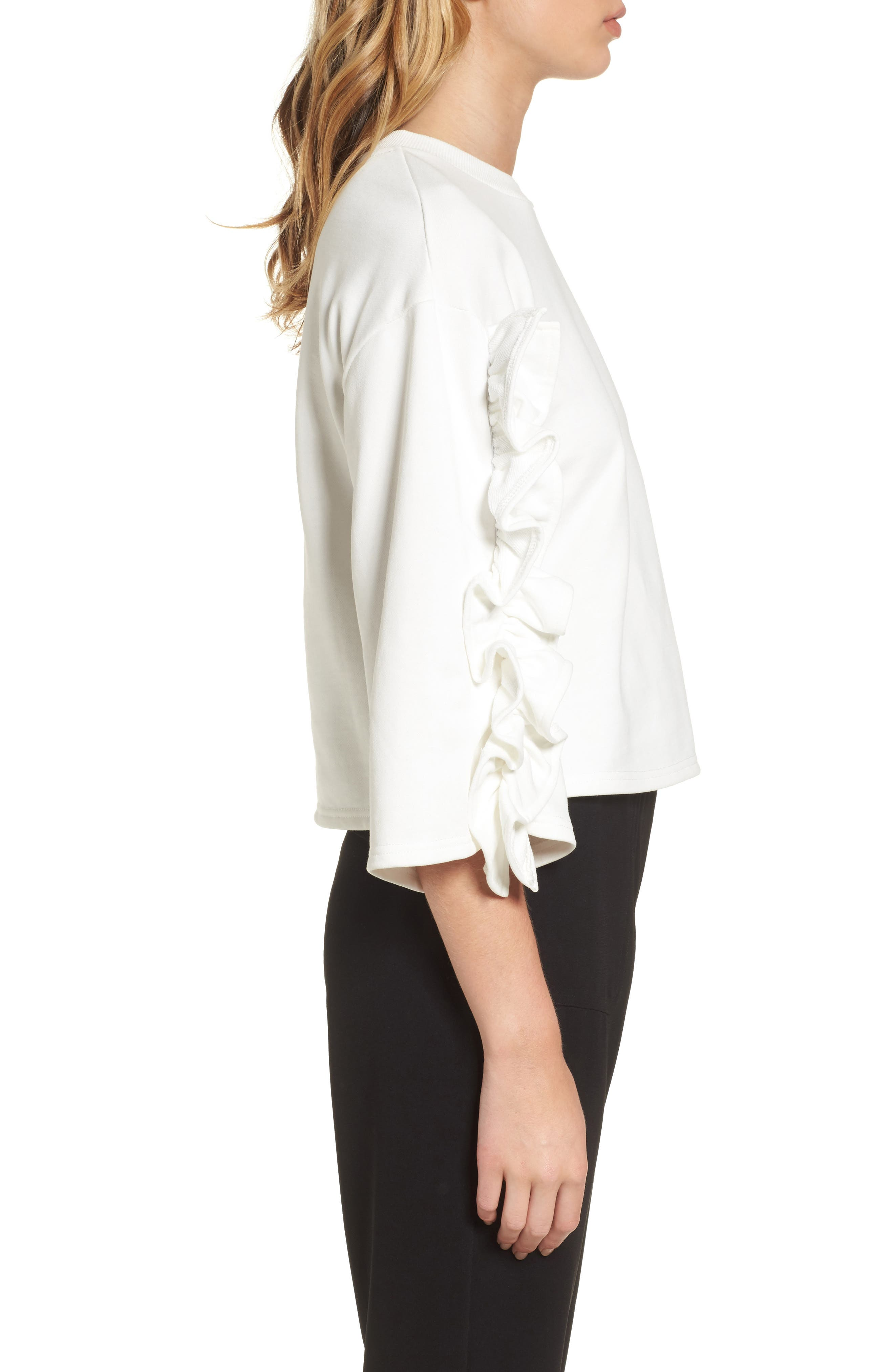 Ruffle Sleeve Top,                             Alternate thumbnail 3, color,                             White
