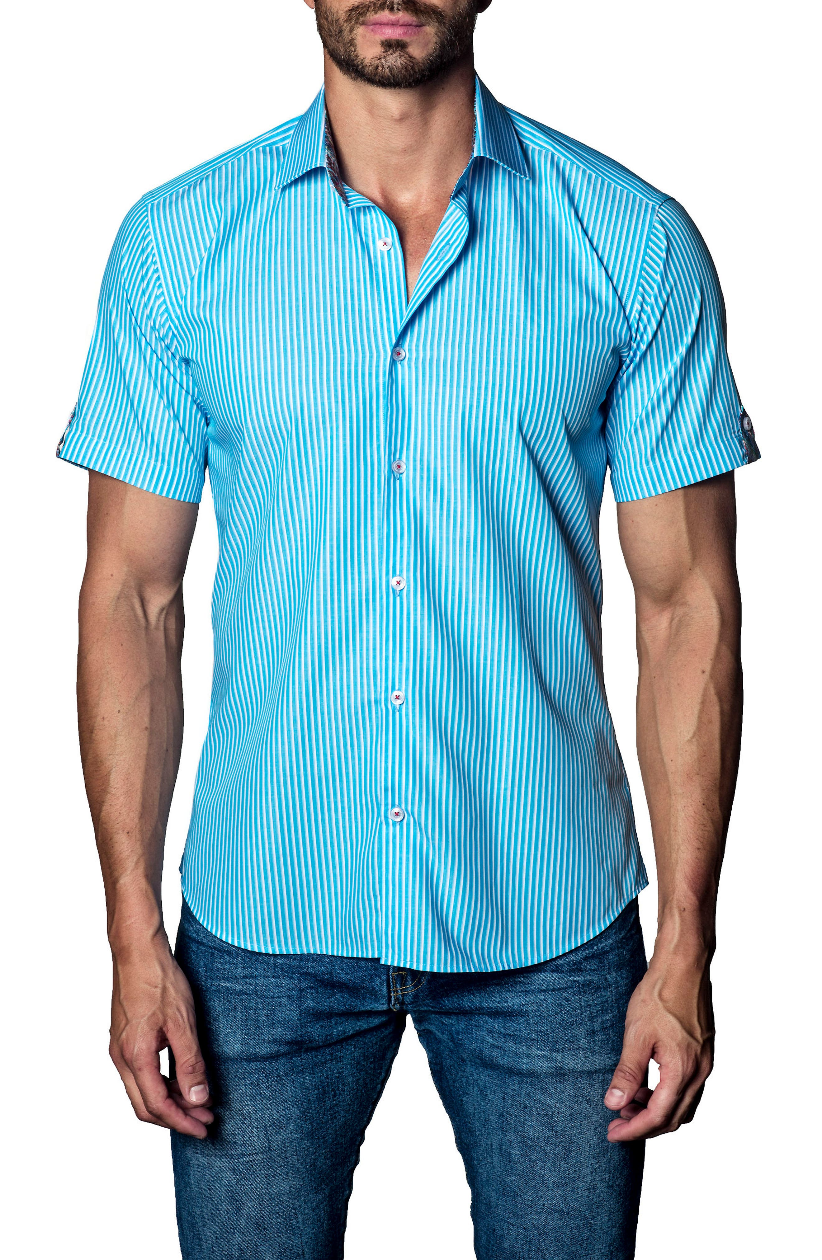 Stripe Sport Shirt,                             Main thumbnail 1, color,                             Blue / White Stripe