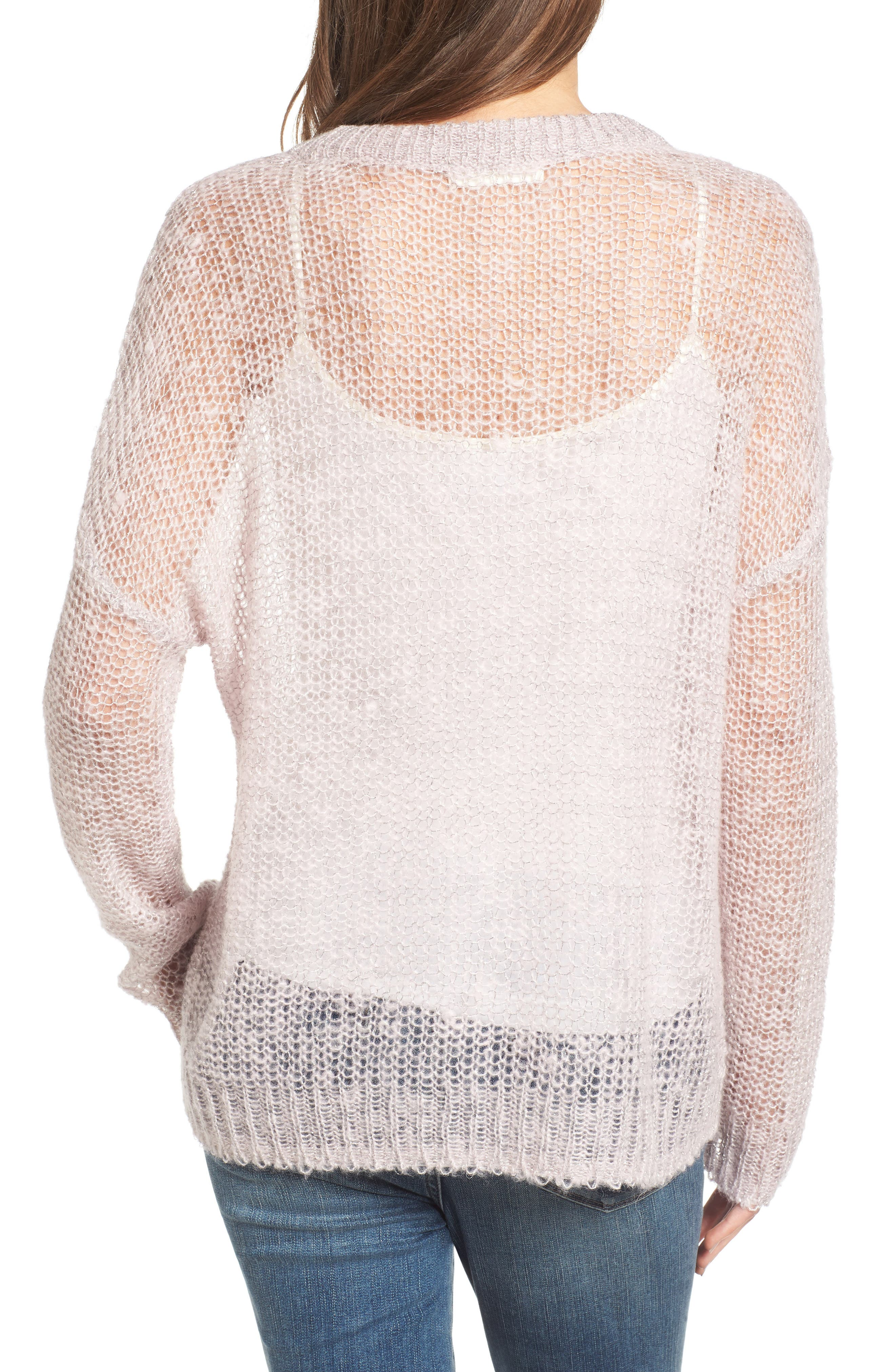 x Something Navy Sheer Metallic Sweater,                             Alternate thumbnail 2, color,                             Pink Parfait Combo
