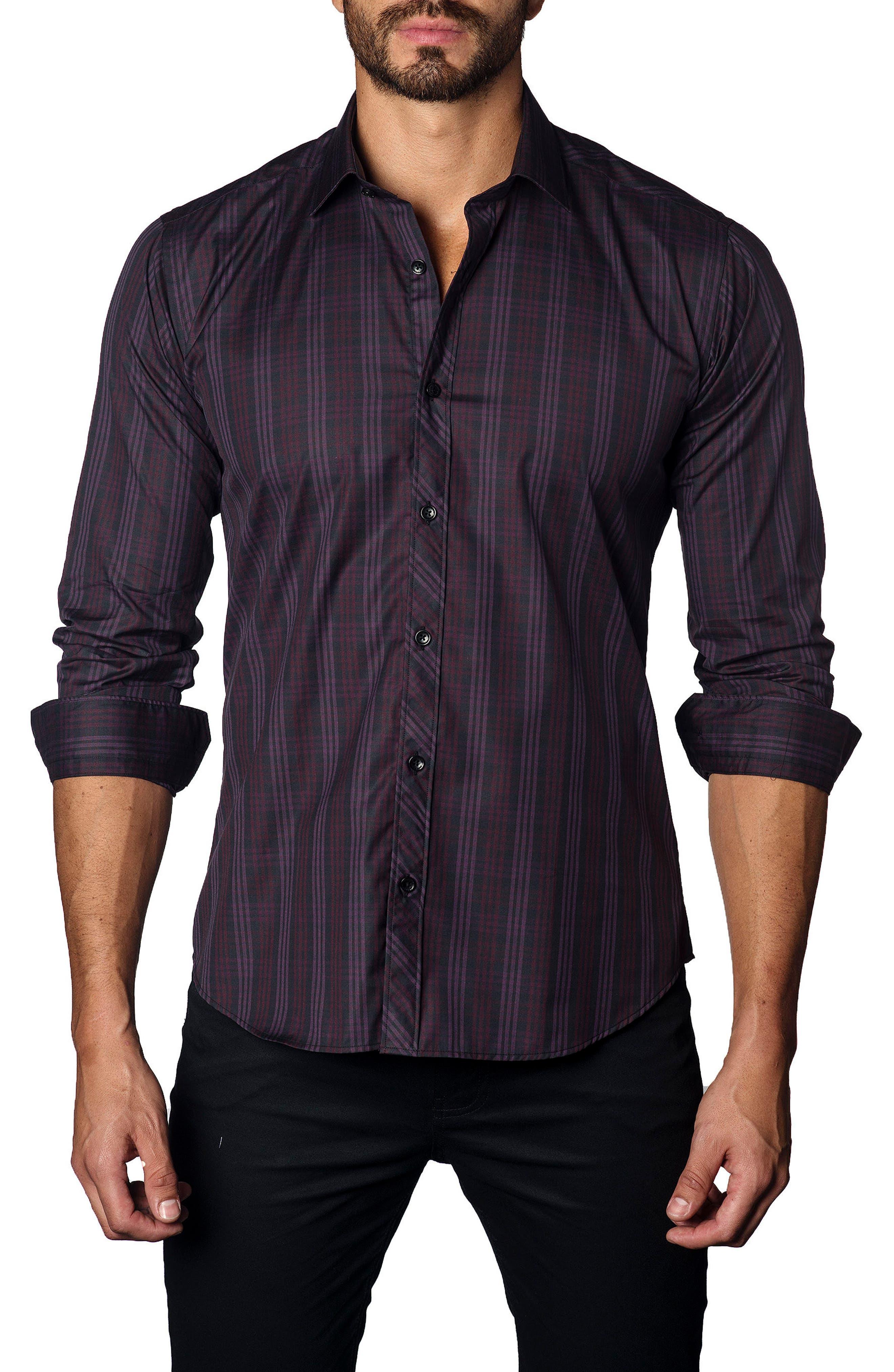 Trim Fit Plaid Sport Shirt,                         Main,                         color, Plum Plaid