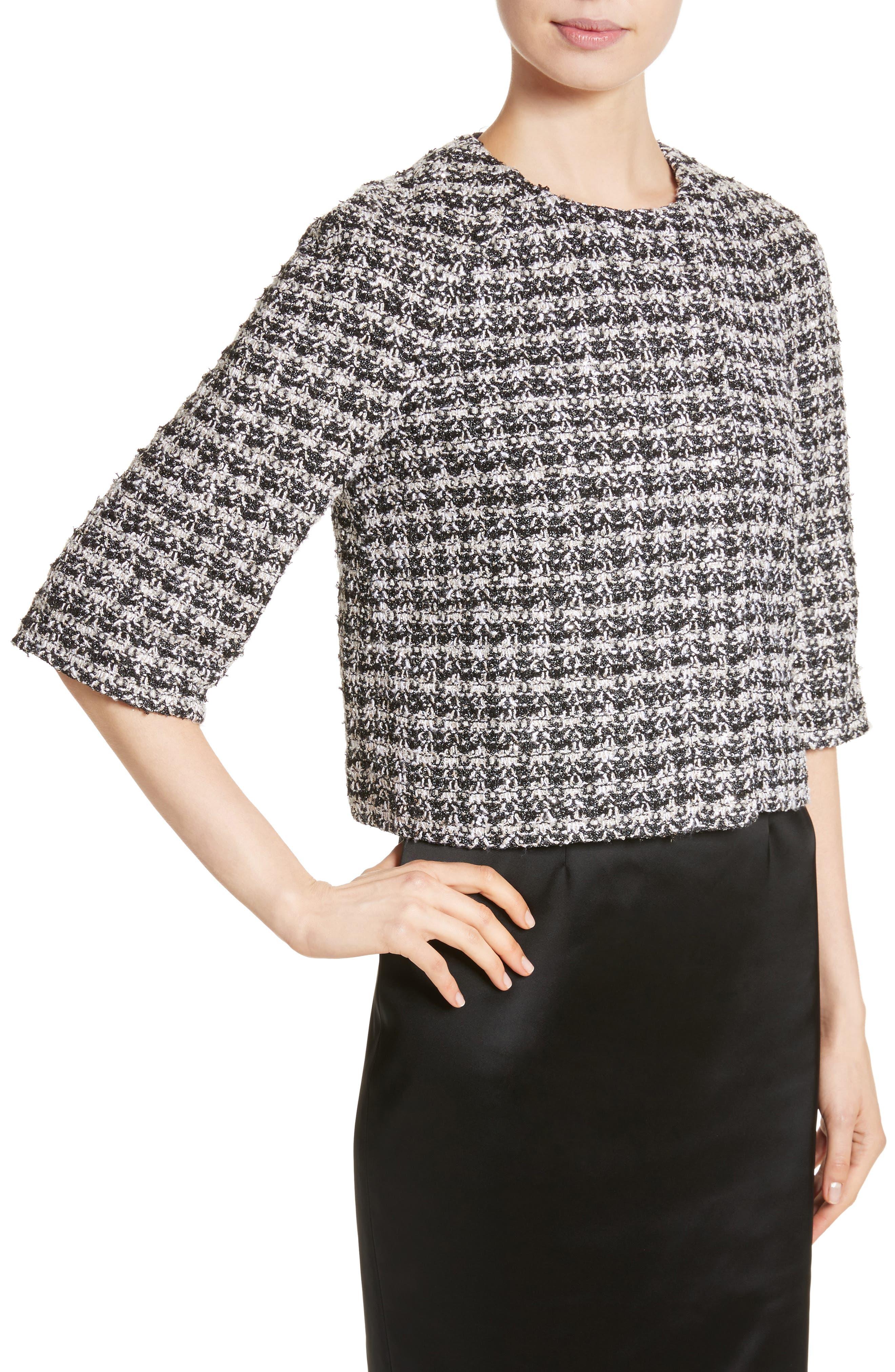 Metallic Plaid Tweed Jacket,                             Alternate thumbnail 4, color,                             Caviar Multi