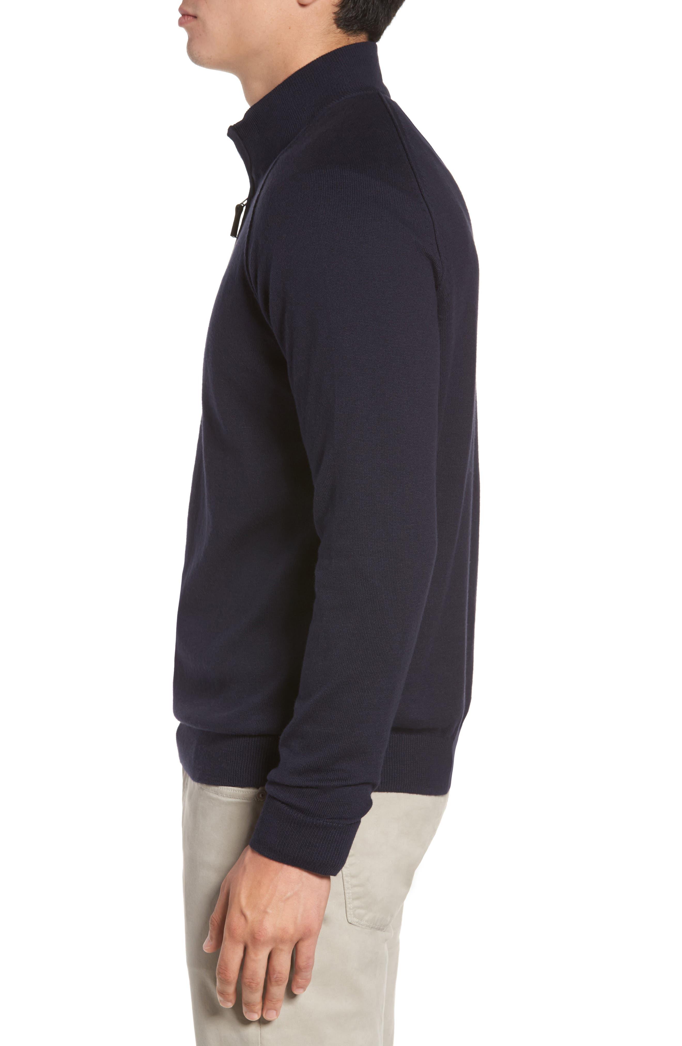 Alternate Image 3  - Nordstrom Men's Shop Saddle Shoulder Quarter Zip Cotton & Cashmere Pullover