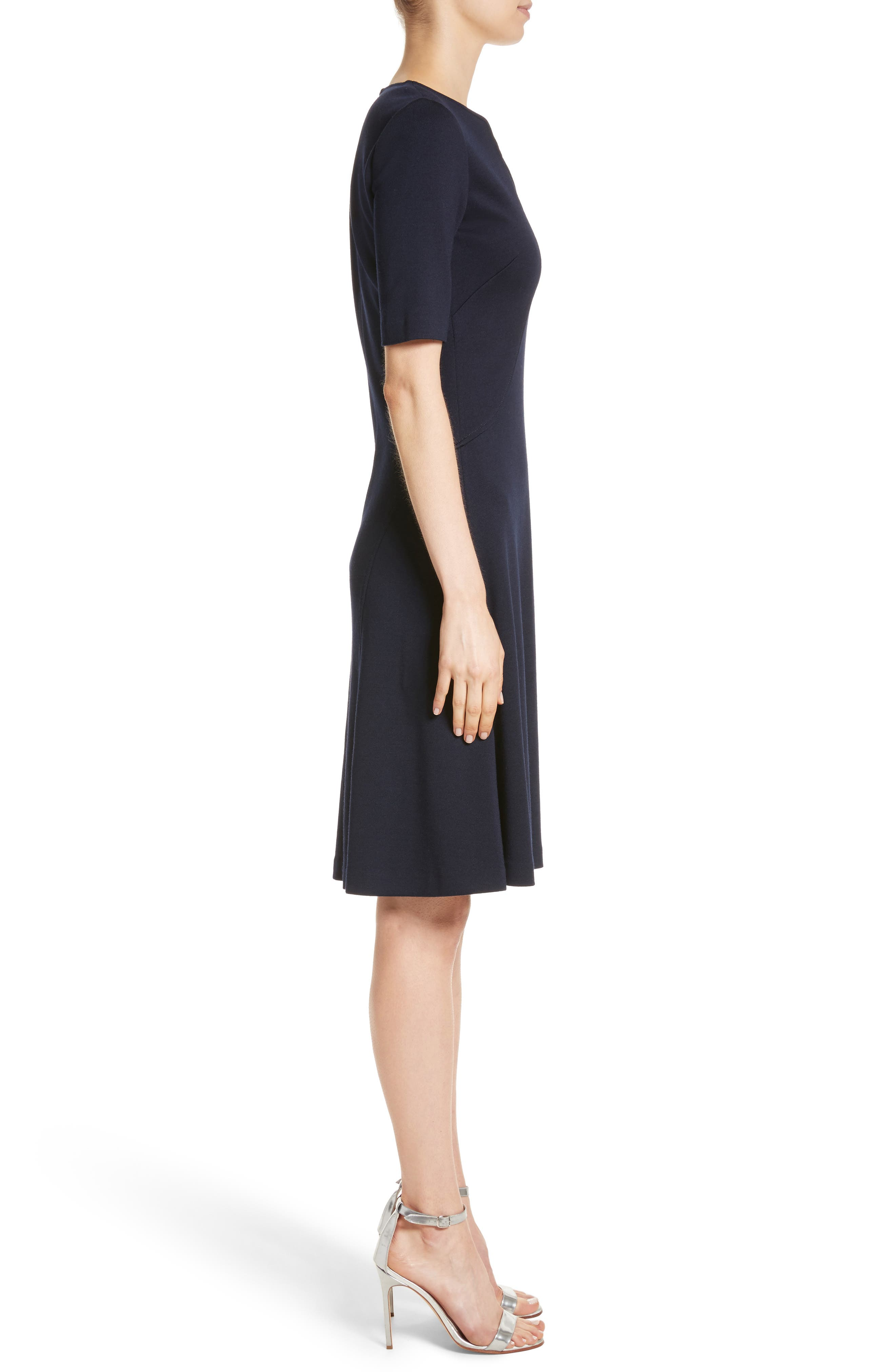 Milano Knit A-Line Dress,                             Alternate thumbnail 3, color,                             Navy