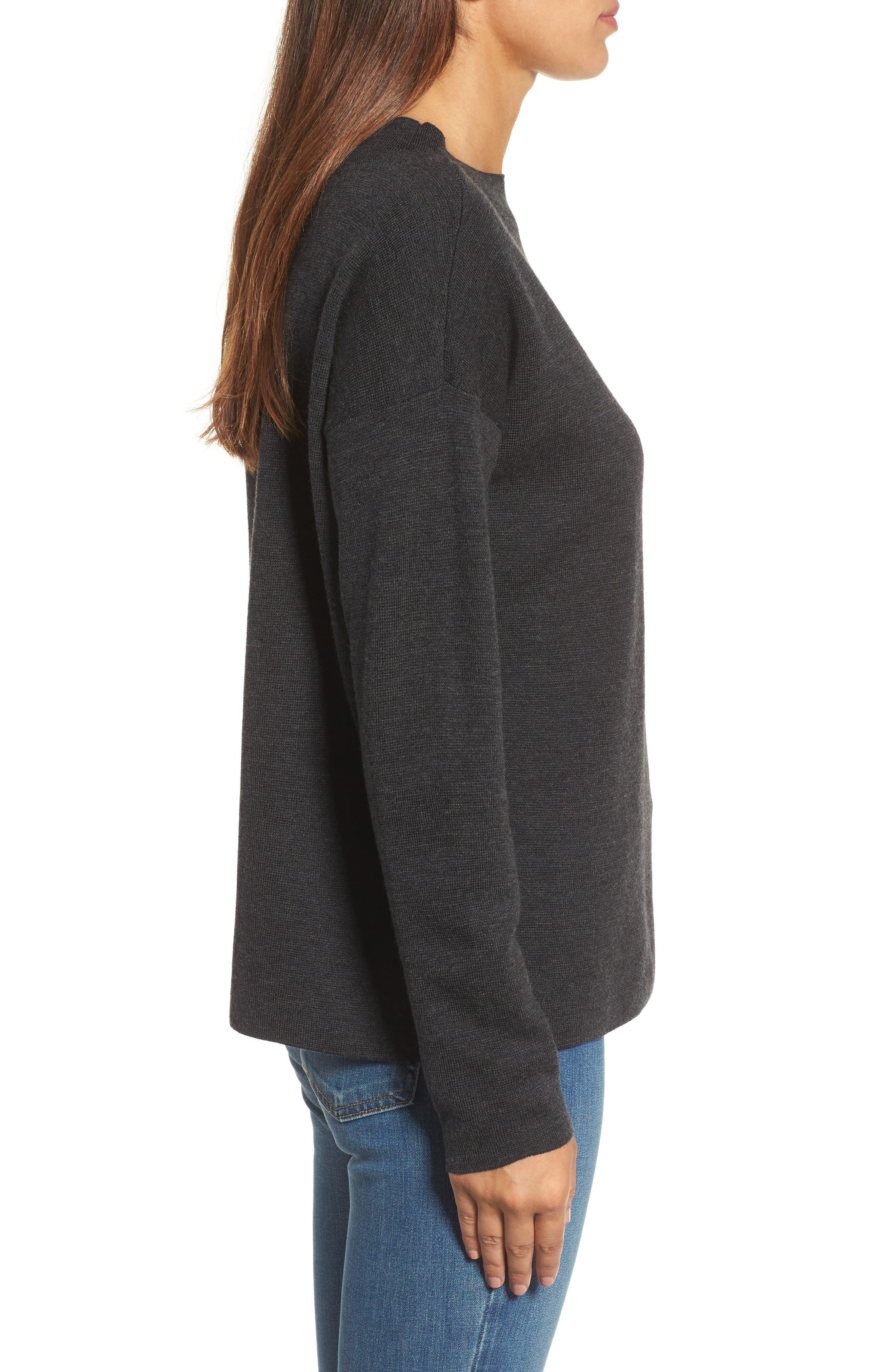 Alternate Image 3  - Eileen Fisher Mock Neck Box Wool Sweater