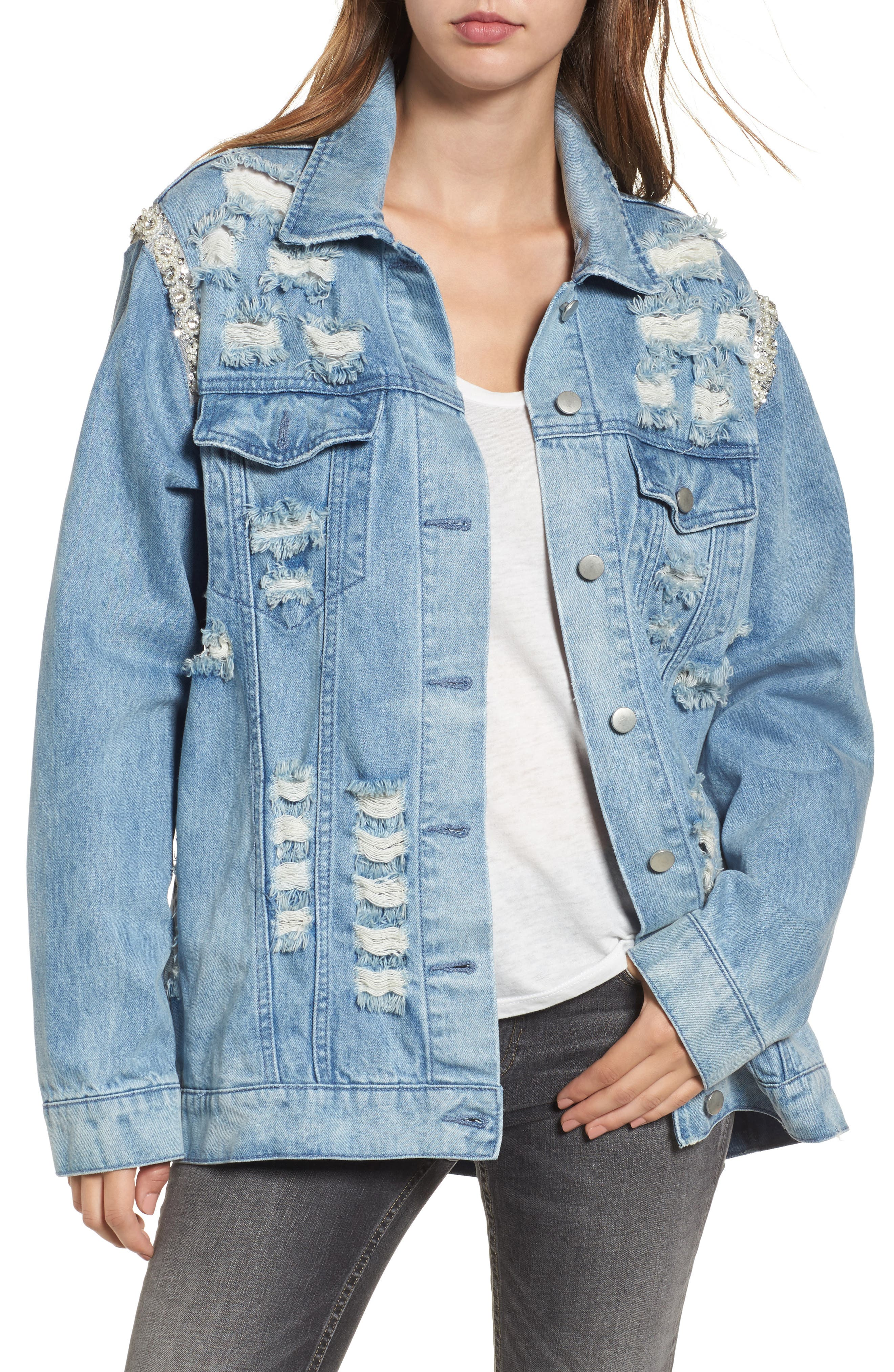 Embellished Ripped Denim Jacket,                             Alternate thumbnail 2, color,                             Blue W/ Pearls & Diamonds
