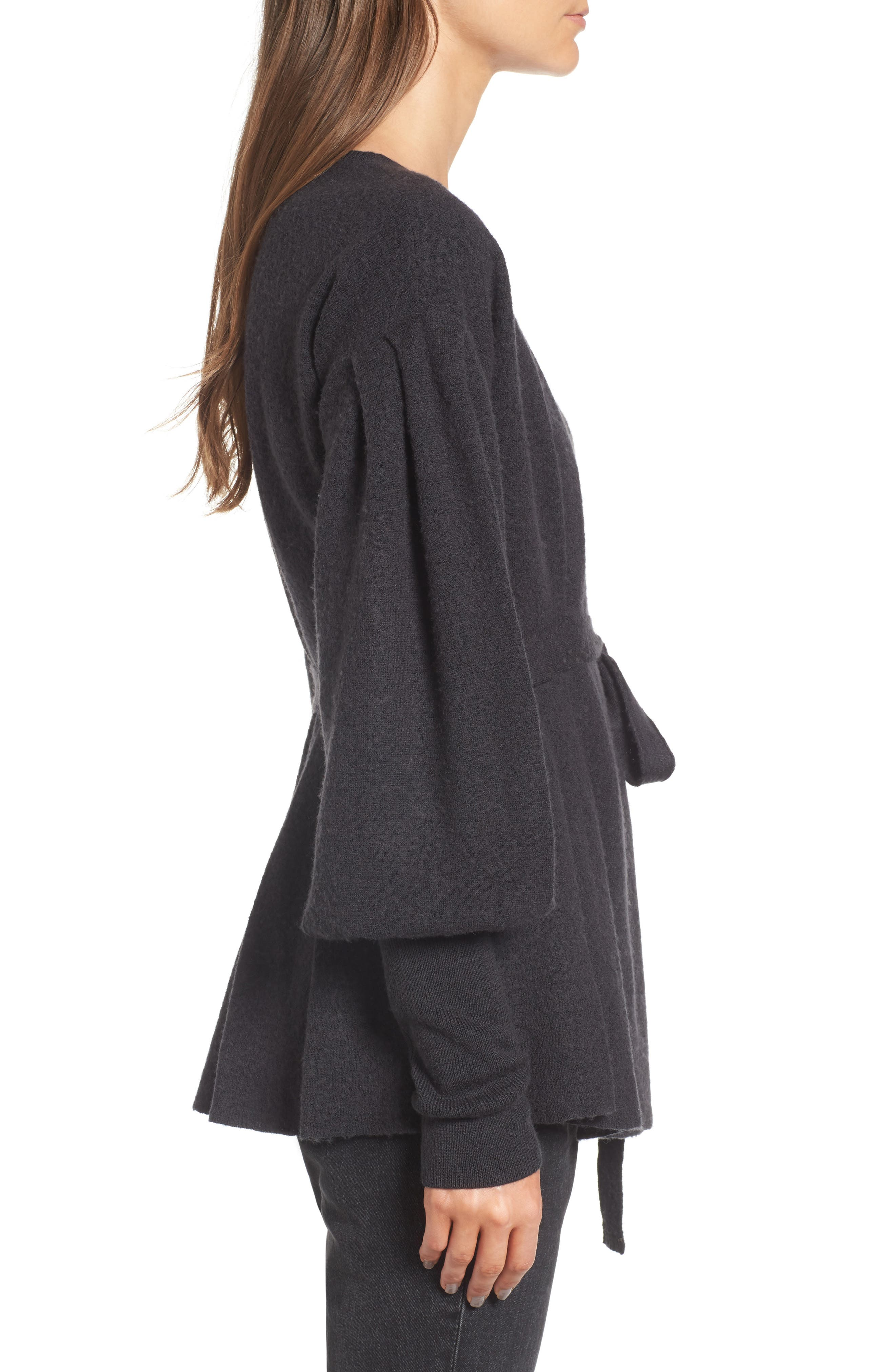 x Something Navy Wrap Cardigan,                             Alternate thumbnail 4, color,                             Grey Dark Charcoal Heather