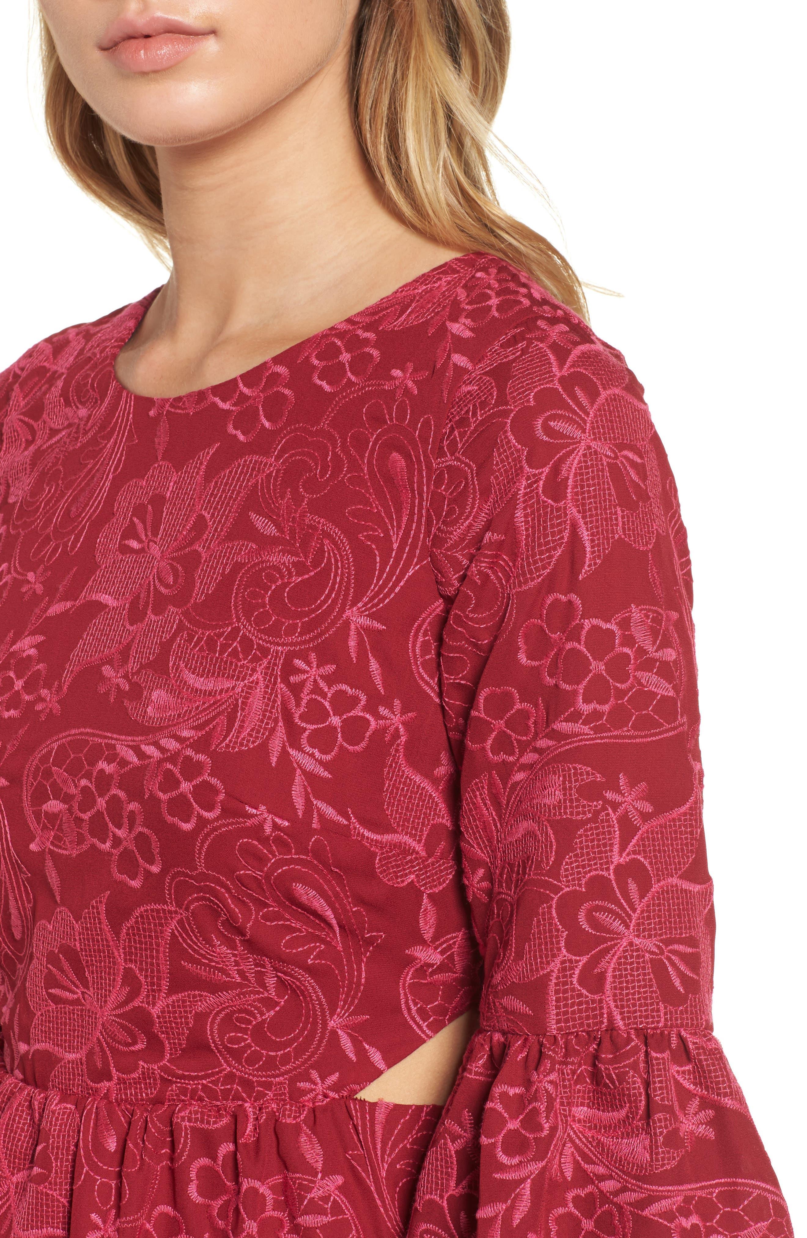 Serafina Bell Sleeve Dress,                             Alternate thumbnail 4, color,                             Shiraz