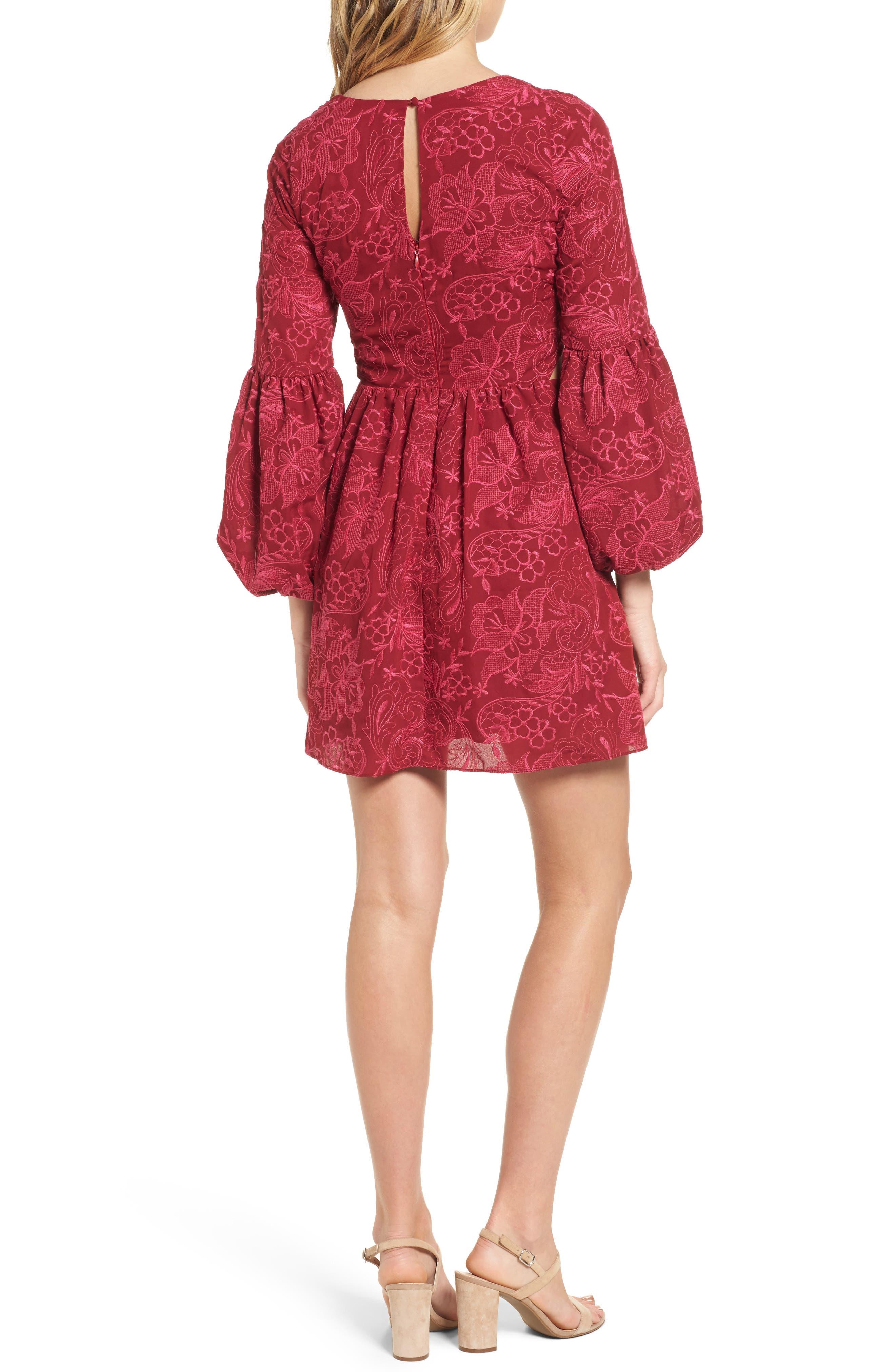 Serafina Bell Sleeve Dress,                             Alternate thumbnail 2, color,                             Shiraz