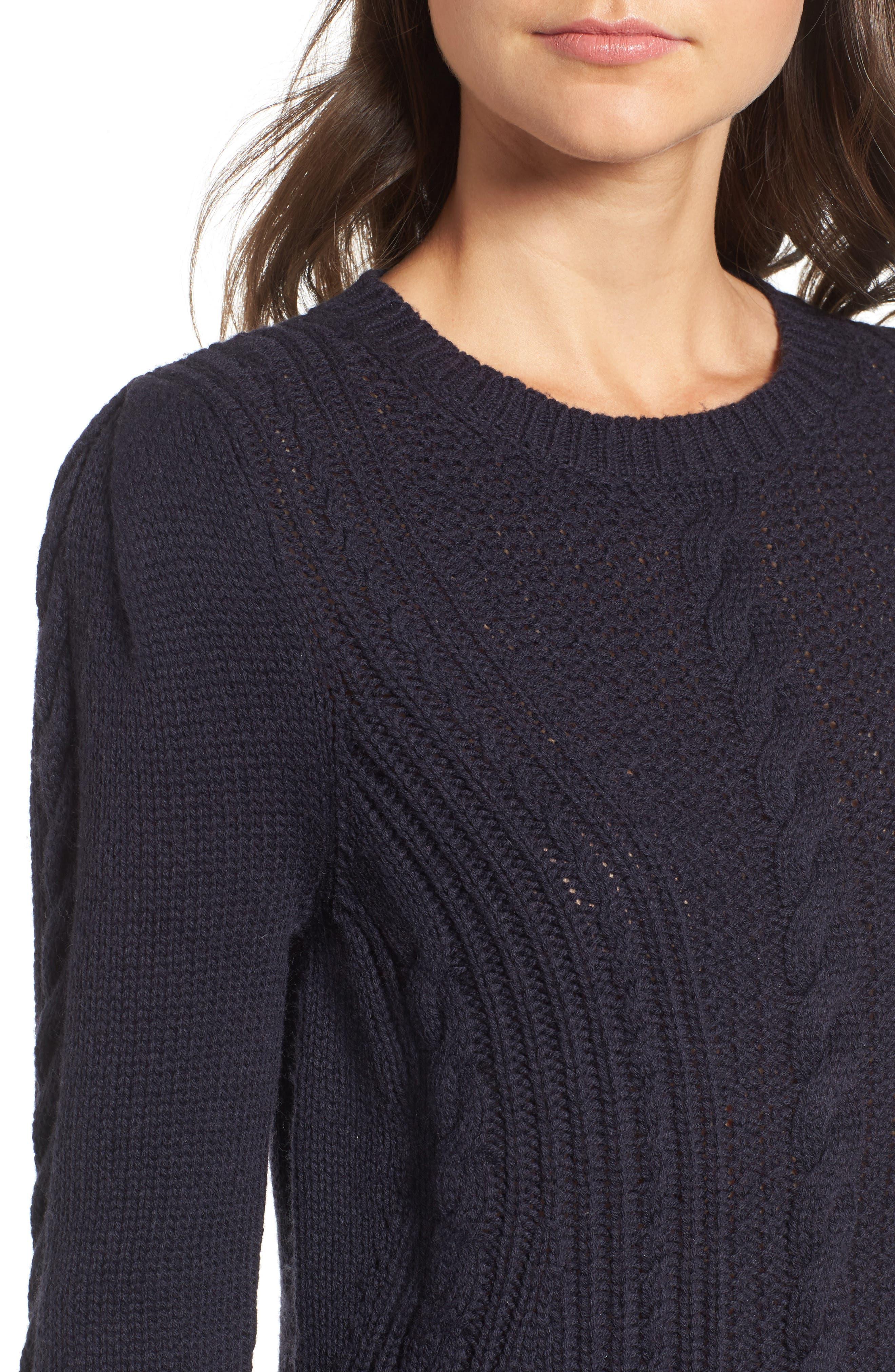 x Something Navy Sweater Dress,                             Alternate thumbnail 5, color,                             Navy Night