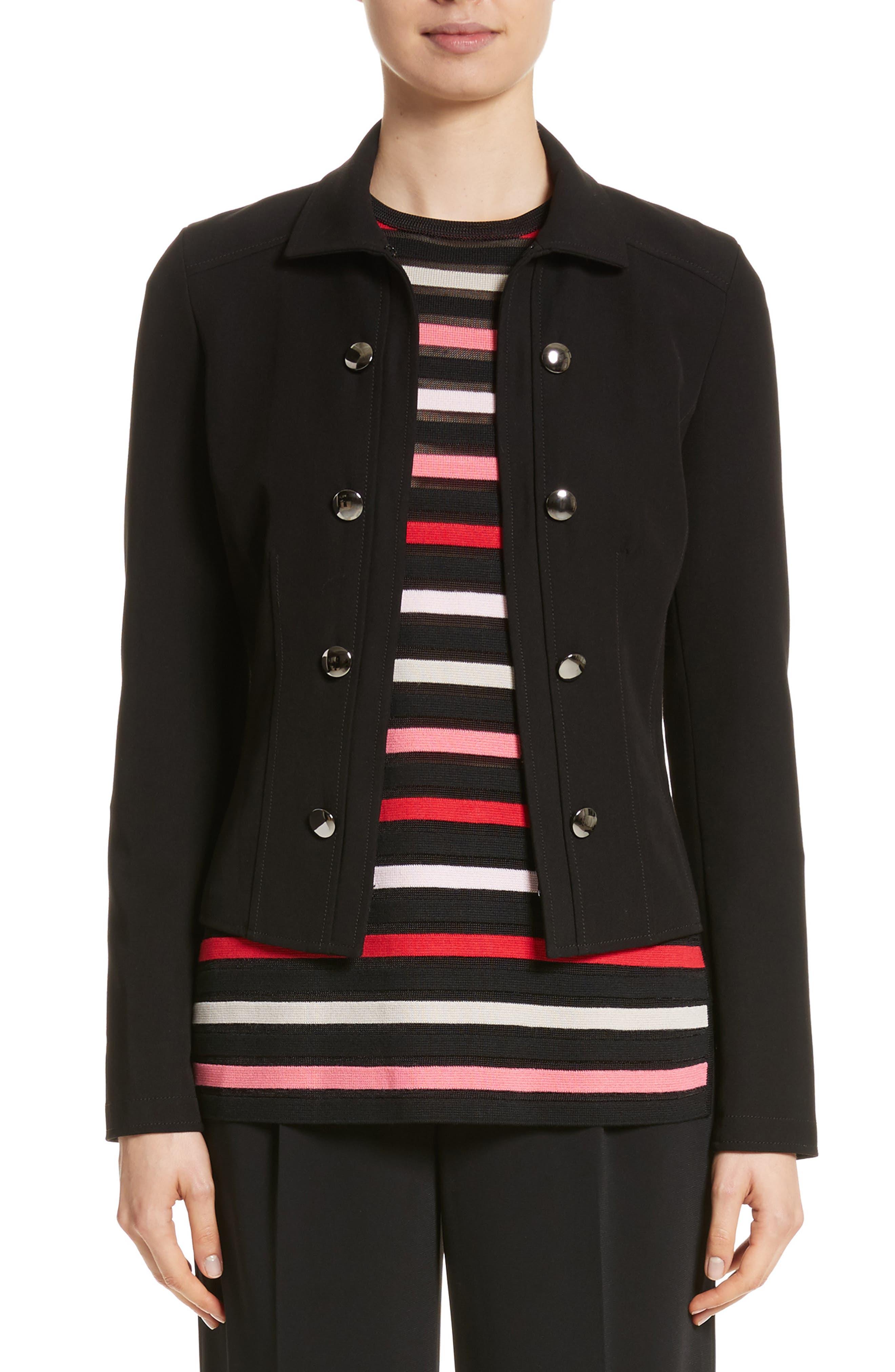Bella Double Weave Jacket,                         Main,                         color, Caviar