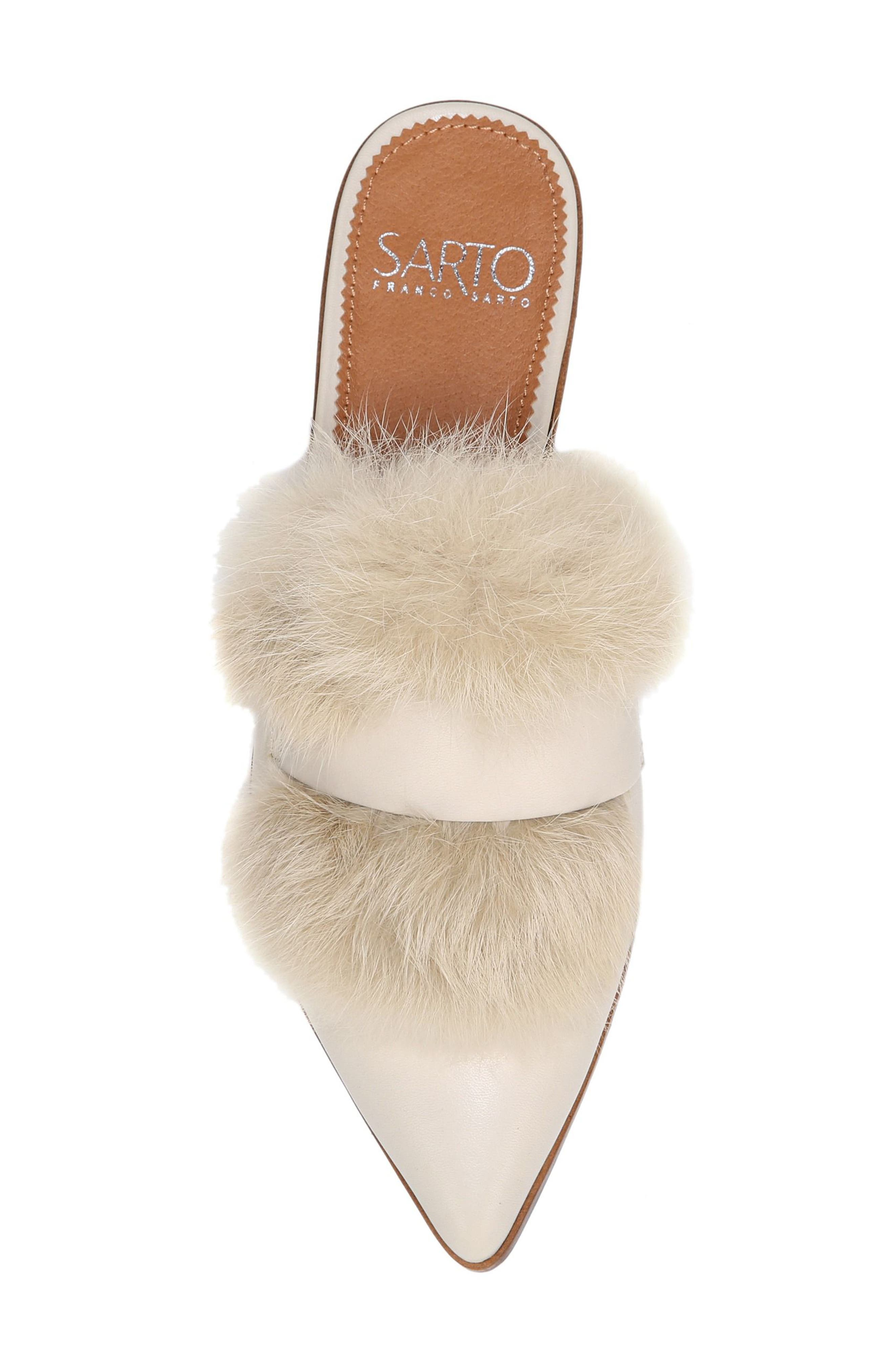 Palmer II Genuine Rabbit Fur Slide,                             Alternate thumbnail 5, color,                             Winter White Leather