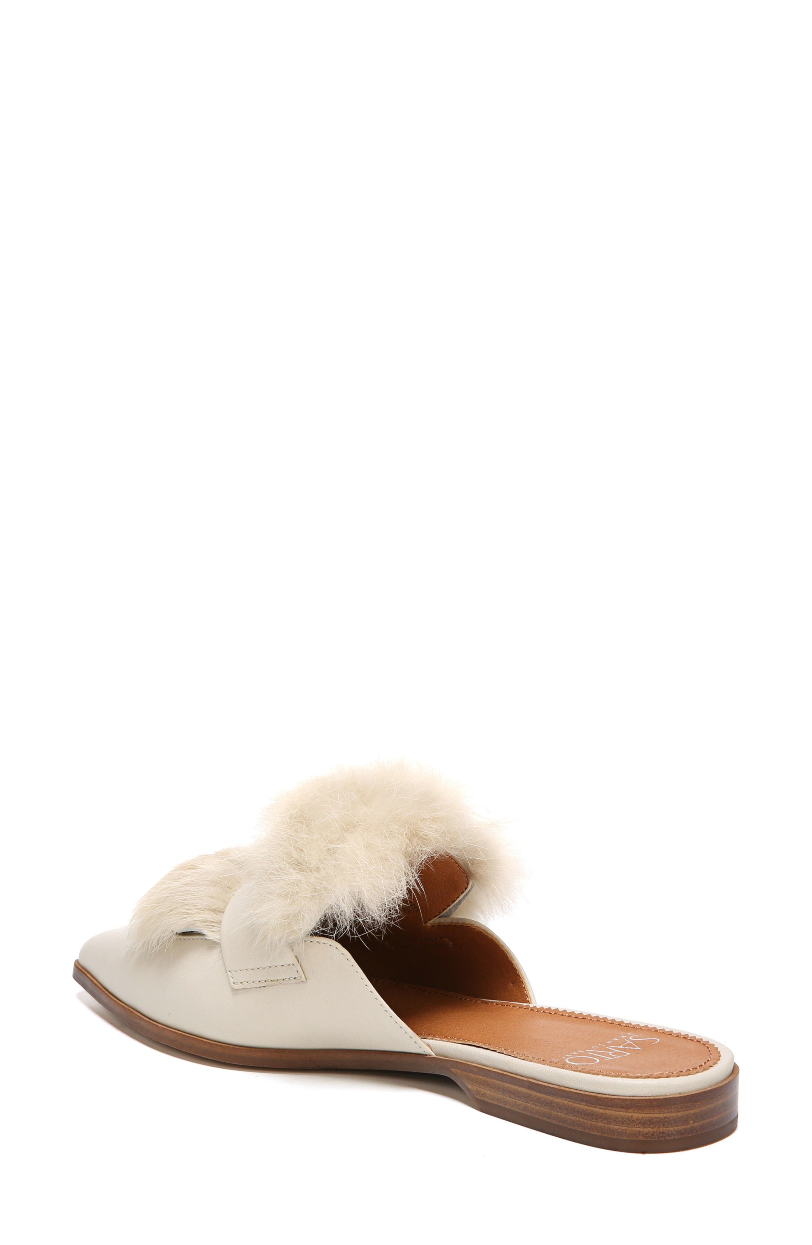 Palmer II Genuine Rabbit Fur Slide,                             Alternate thumbnail 2, color,                             Winter White Leather