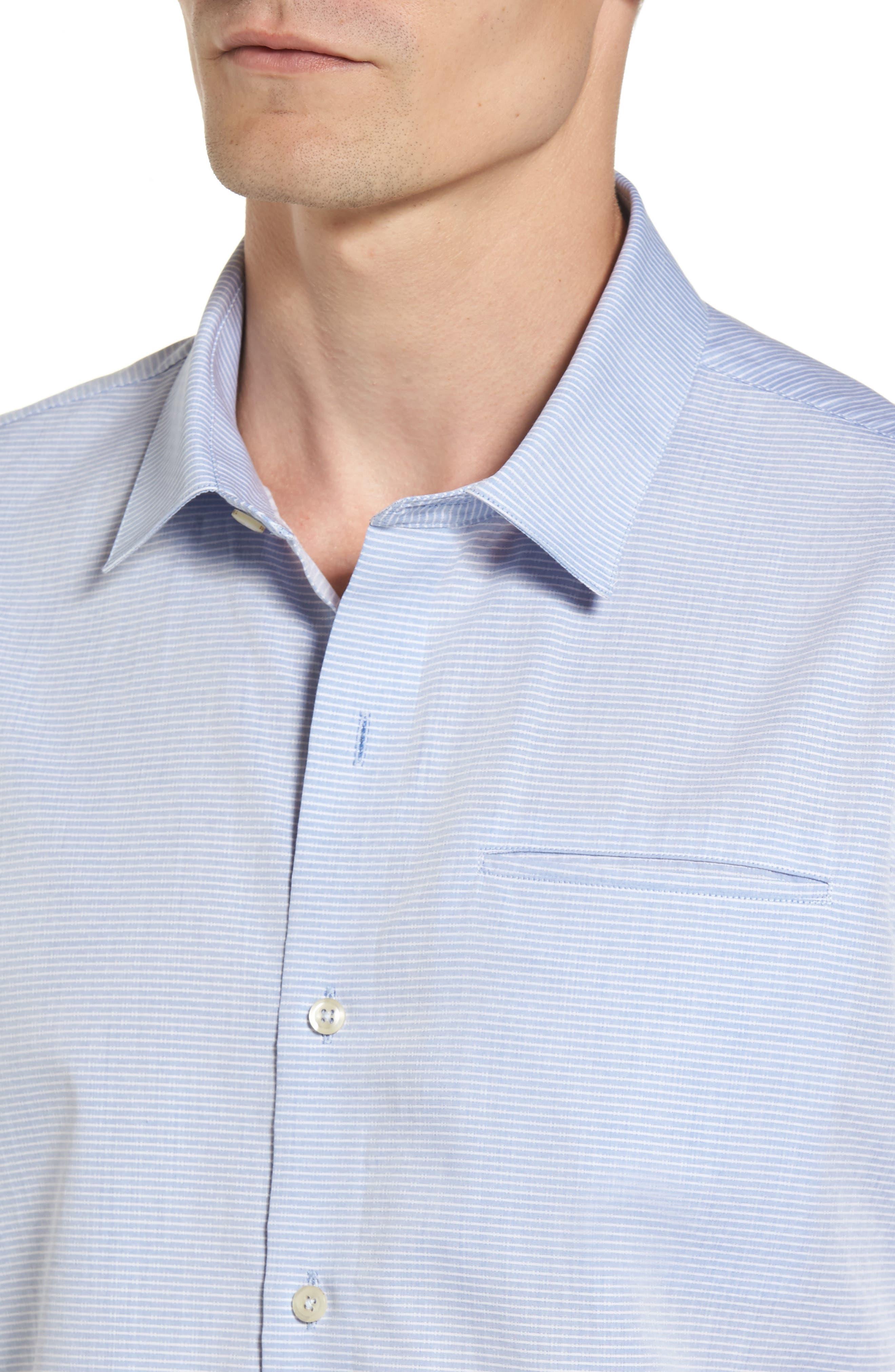 Stripe Woven Shirt,                             Alternate thumbnail 4, color,                             Light Blue