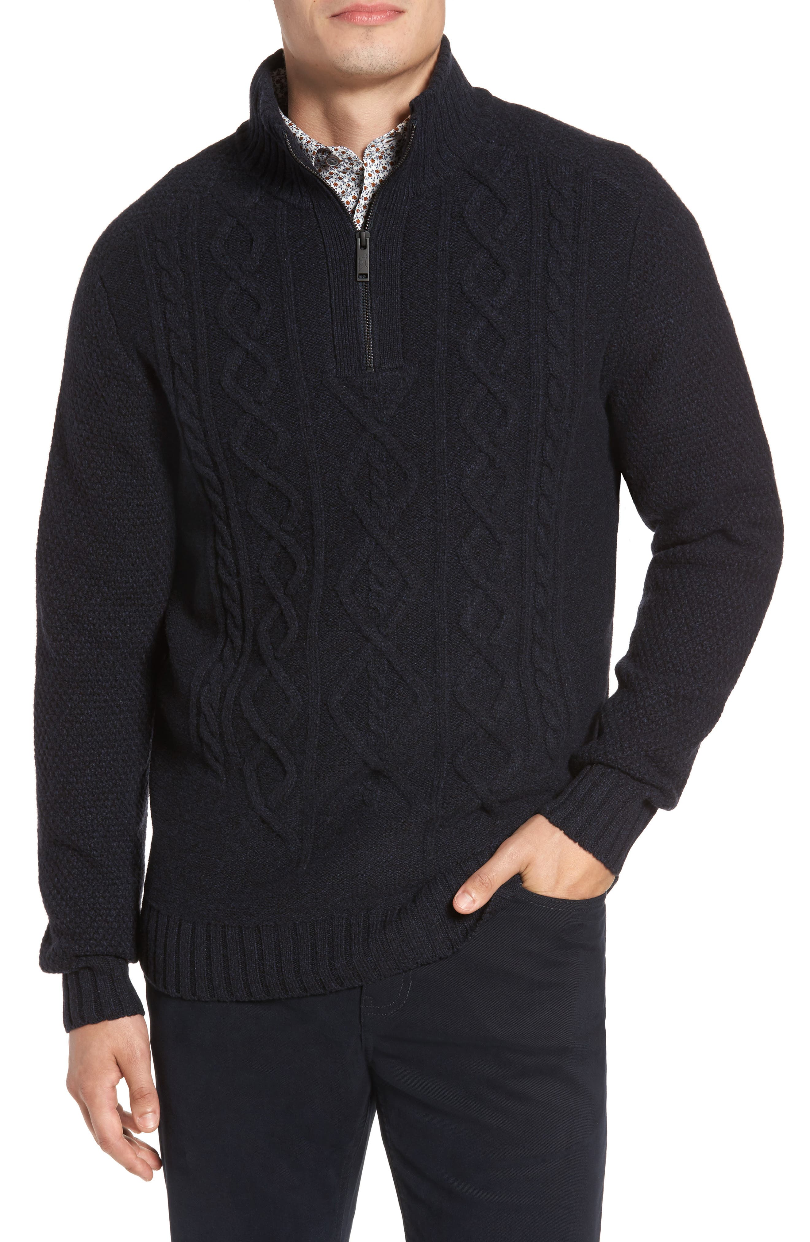 Cape Scoresby Wool Sweater,                             Main thumbnail 1, color,                             Navy