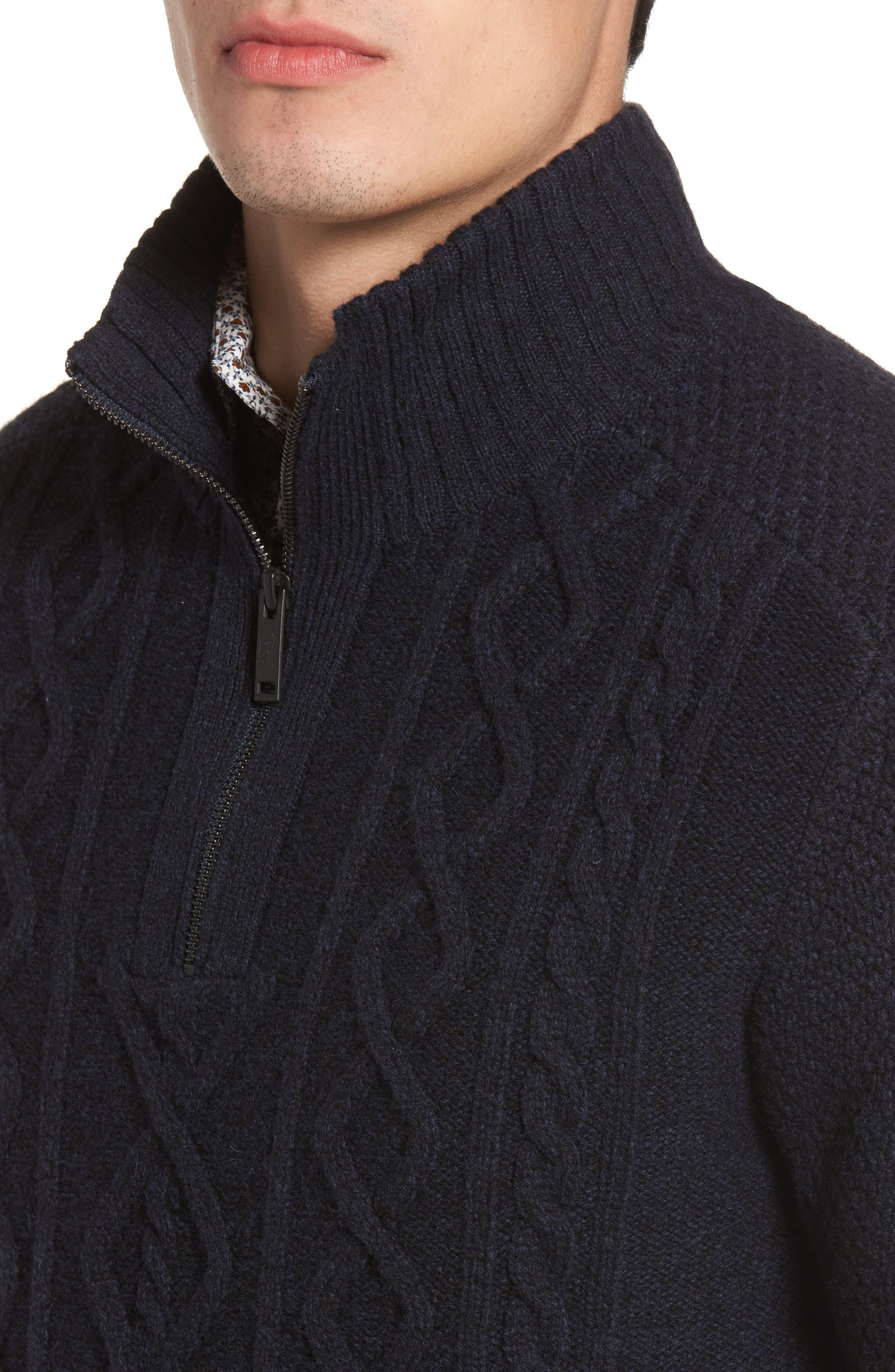 Cape Scoresby Wool Sweater,                             Alternate thumbnail 4, color,                             Navy