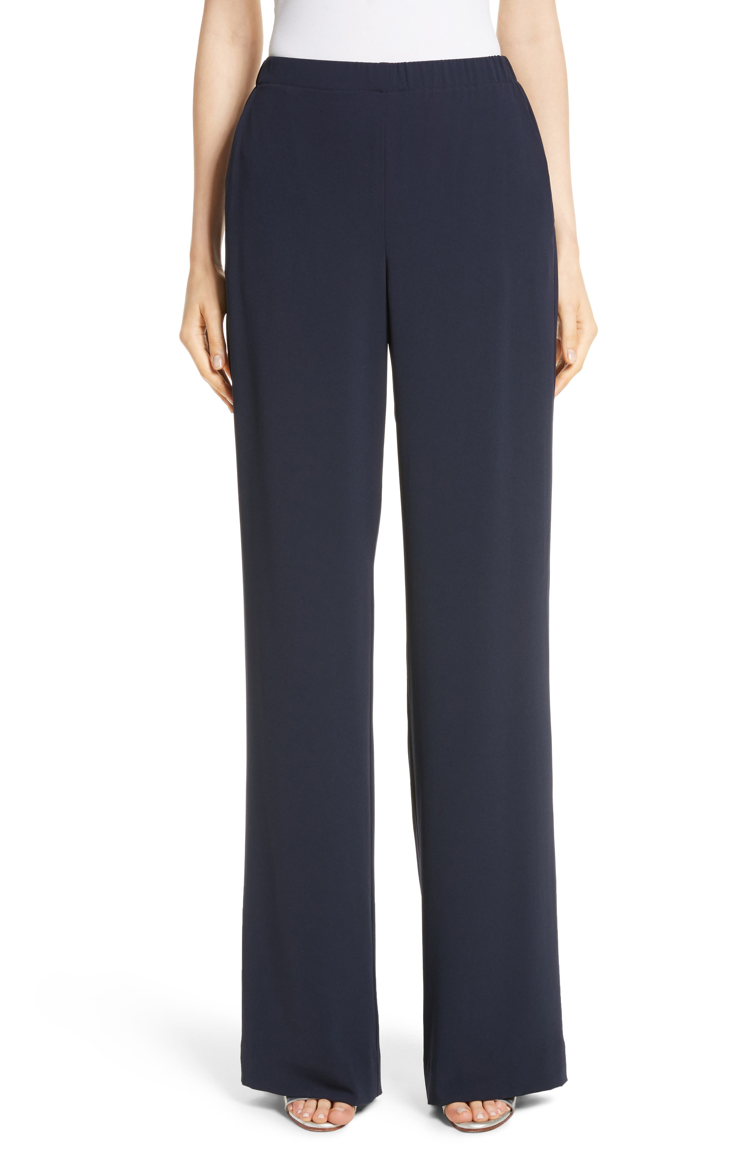 Satin Back Crepe Pants,                             Main thumbnail 1, color,                             Navy