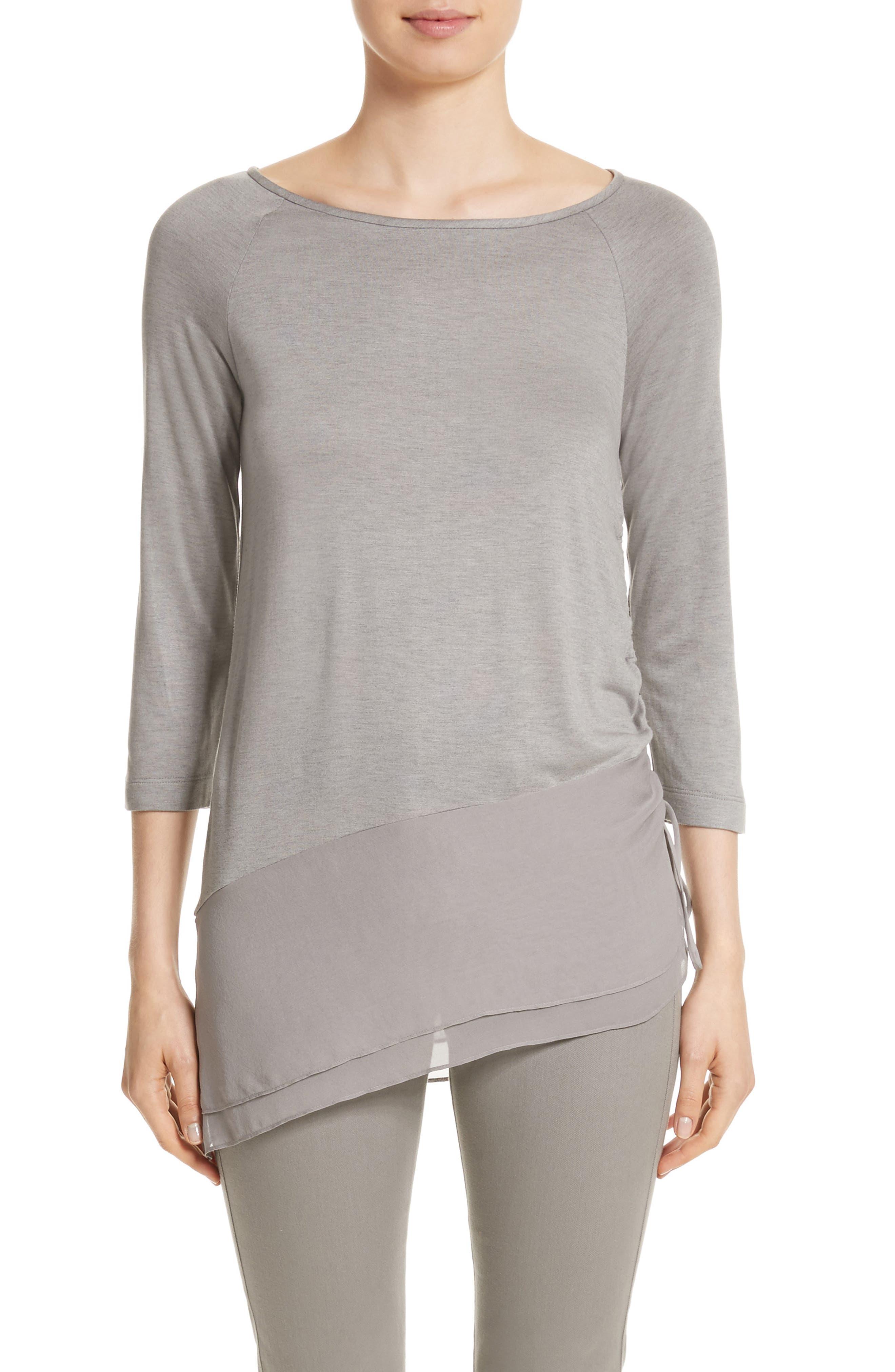Silk Georgette & Jersey Asymmetrical Blouse,                         Main,                         color, Travertine Melange