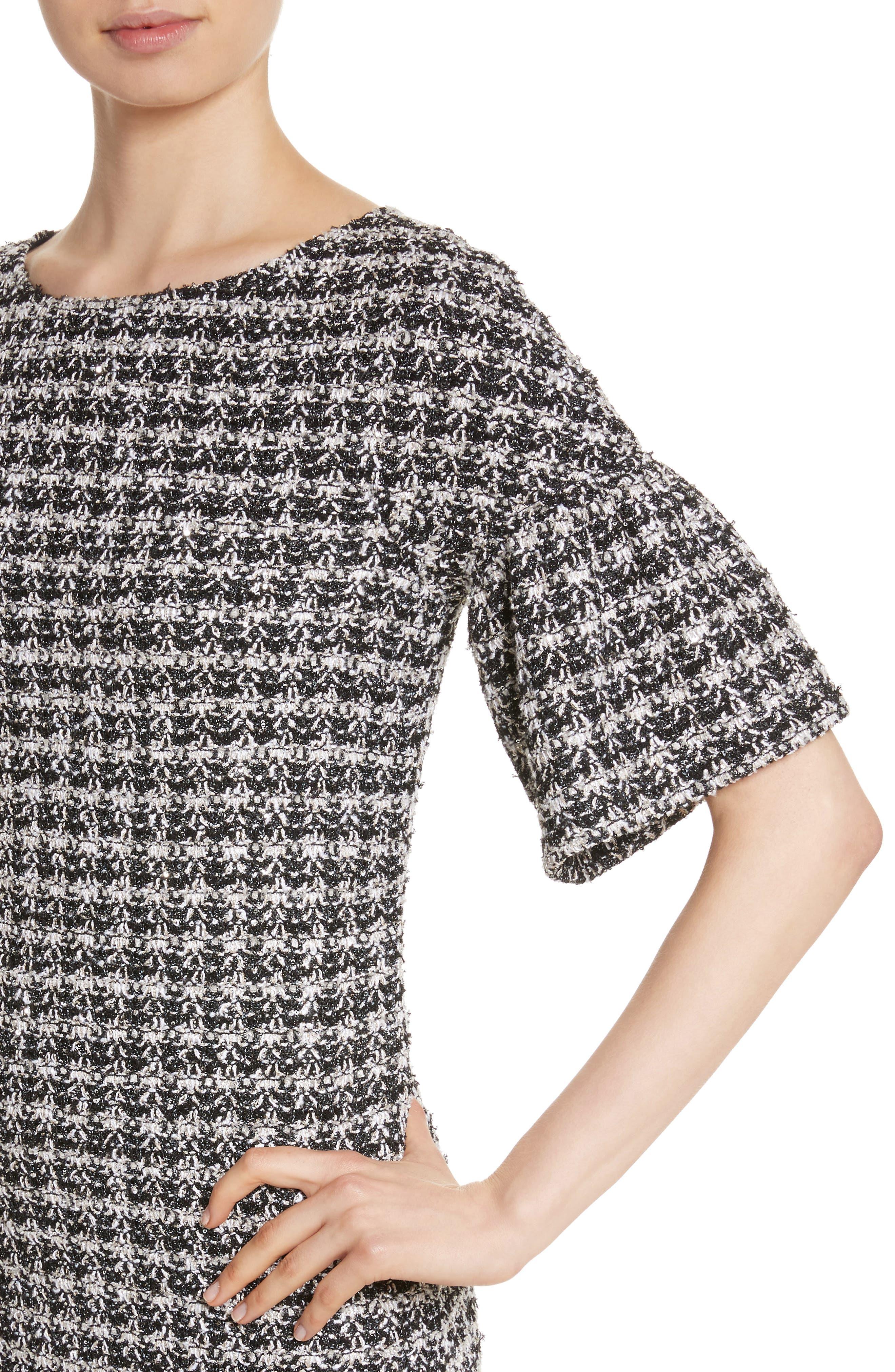 Metallic Tweed Bell Sleeve Dress,                             Alternate thumbnail 4, color,                             Caviar Multi