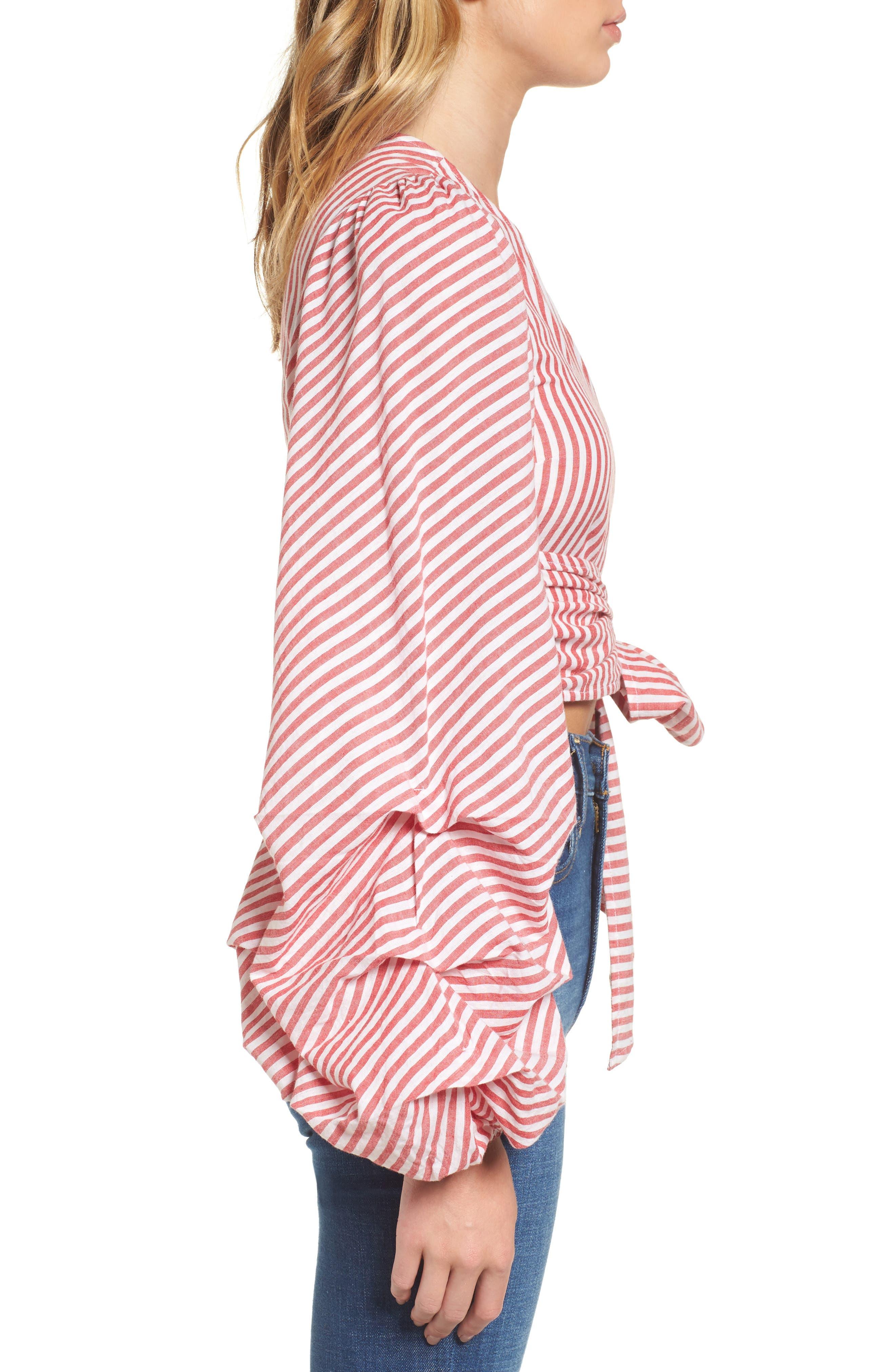 L'Academie Reckless One-Shoulder Wrap Blouse,                             Alternate thumbnail 3, color,                             Red/ White Stripe