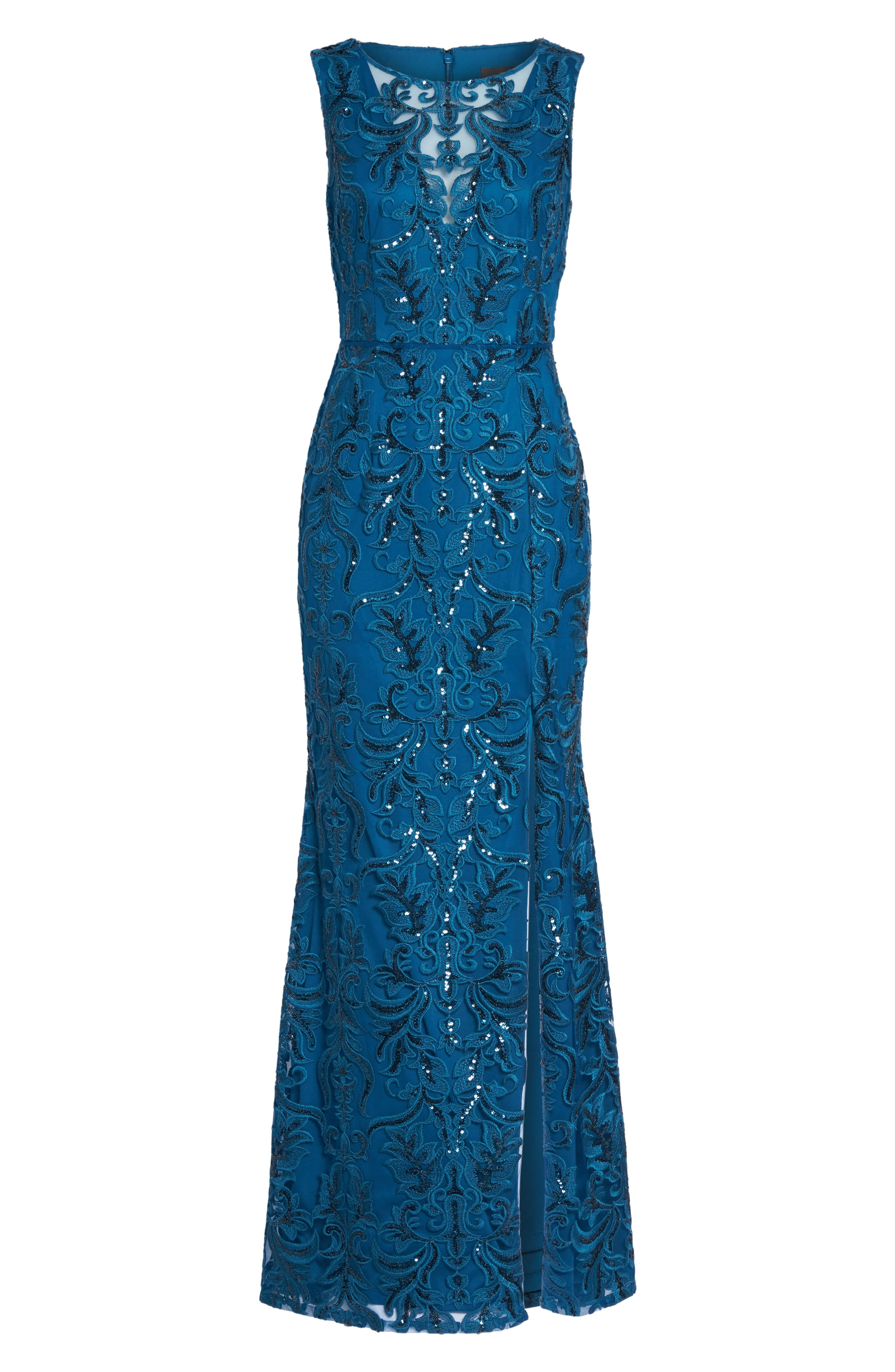 Sequin Scroll Gown,                             Alternate thumbnail 6, color,                             Evening Sky