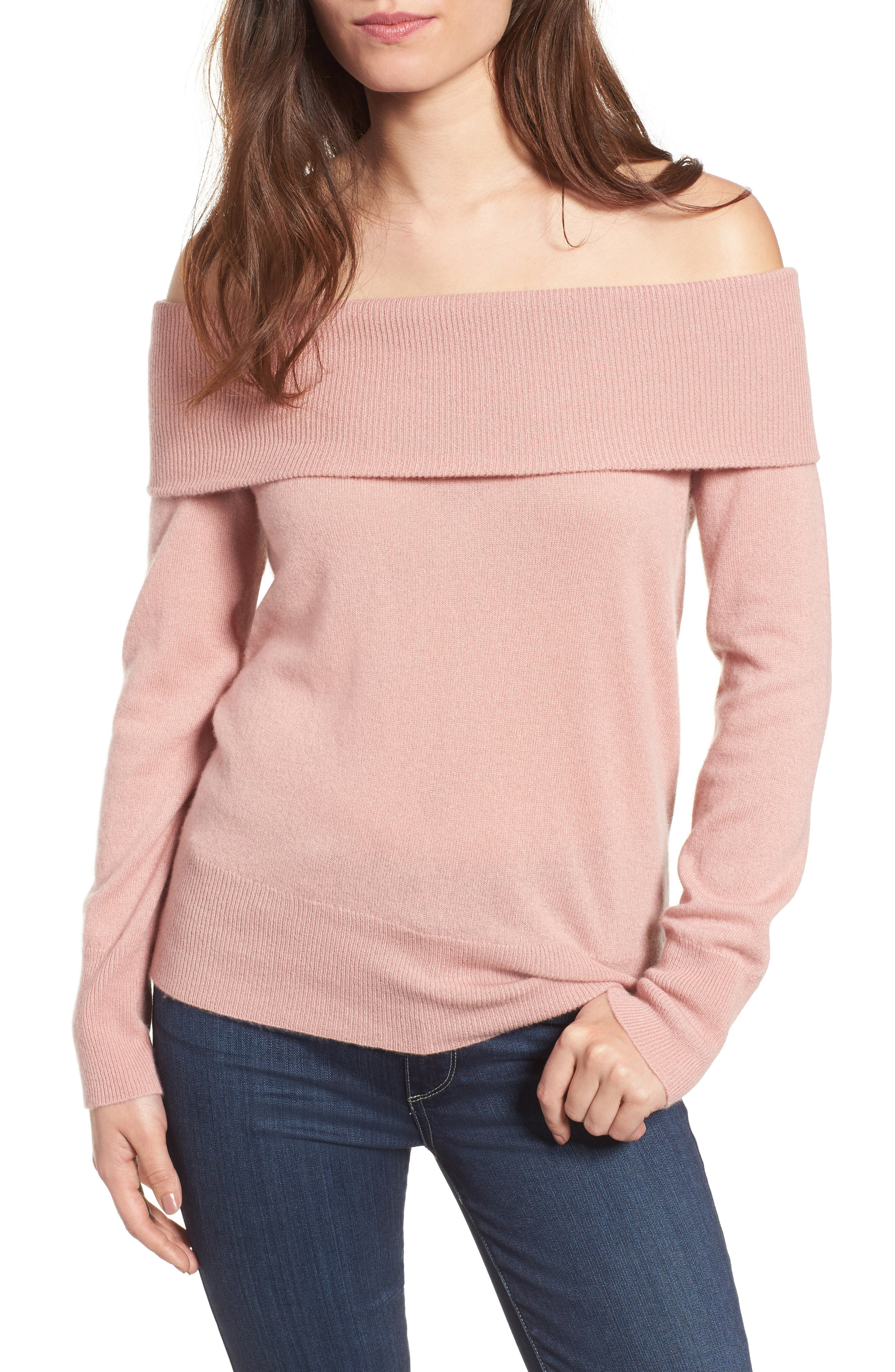 cupcakes and cashmere Roderick Off the Shoulder Cashmere Sweater