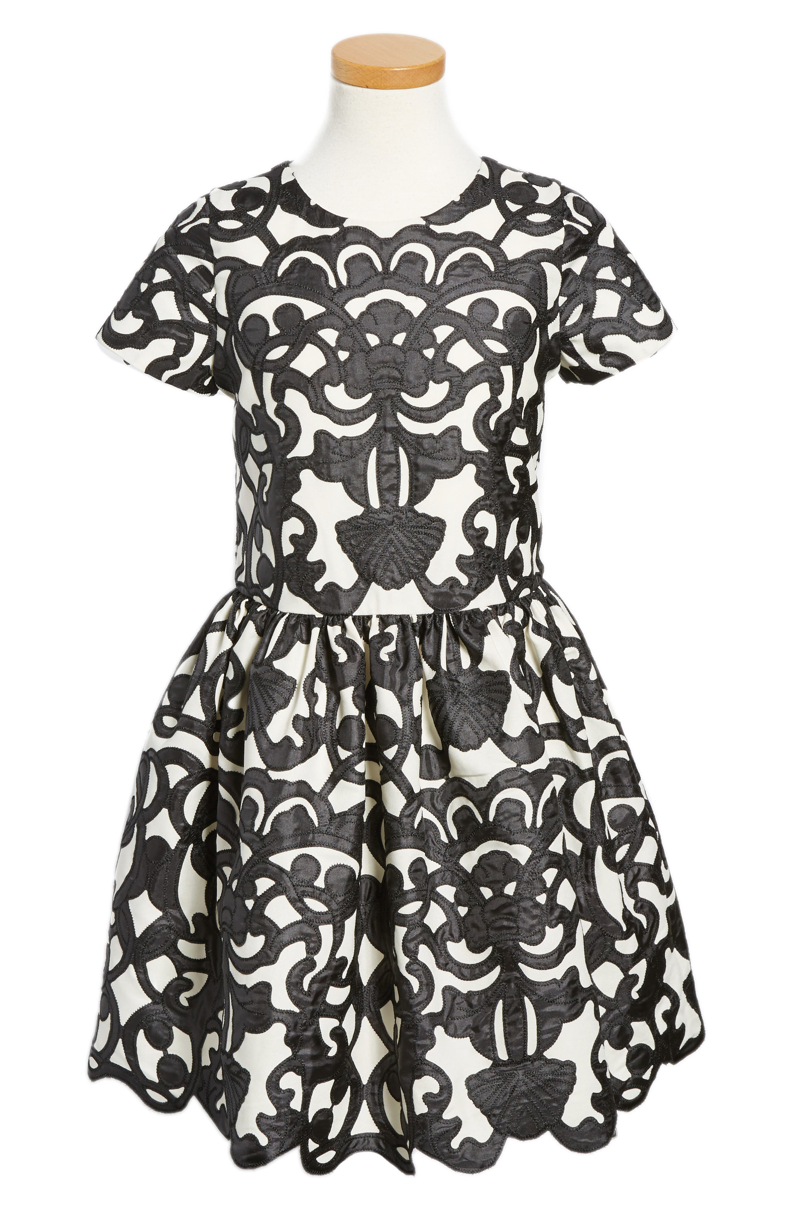 Main Image - Ava & Yelly Laser Cut Appliqué Dress (Big Girls)