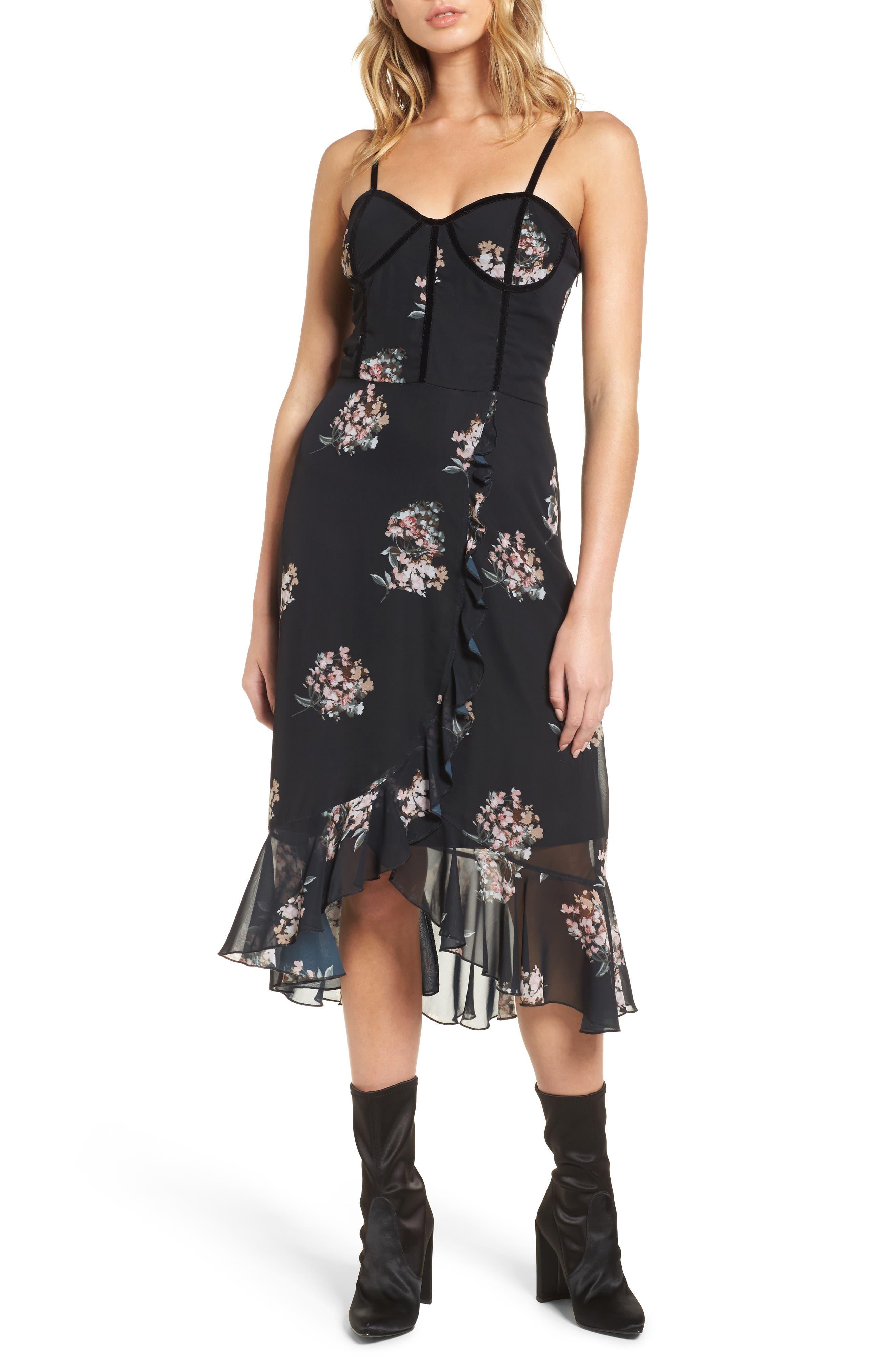 Floral Corset Dress,                         Main,                         color, Black Multi Floral