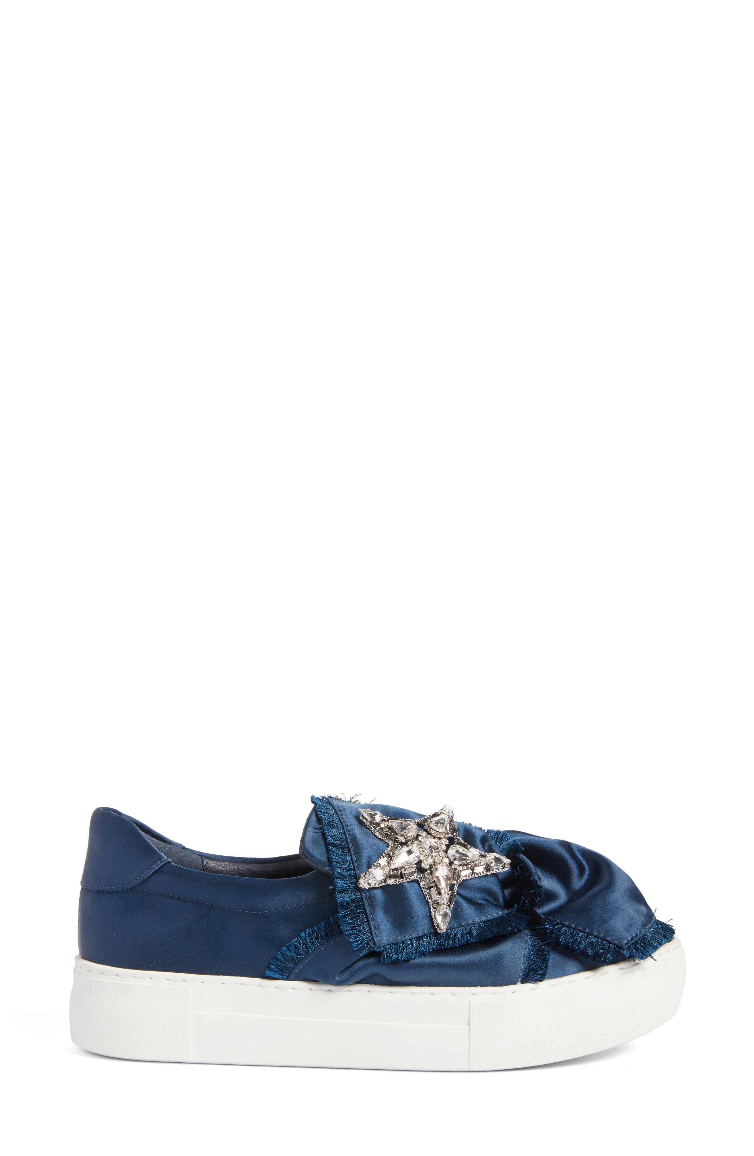 Astor Slip-On Sneaker,                             Alternate thumbnail 3, color,                             Navy Satin