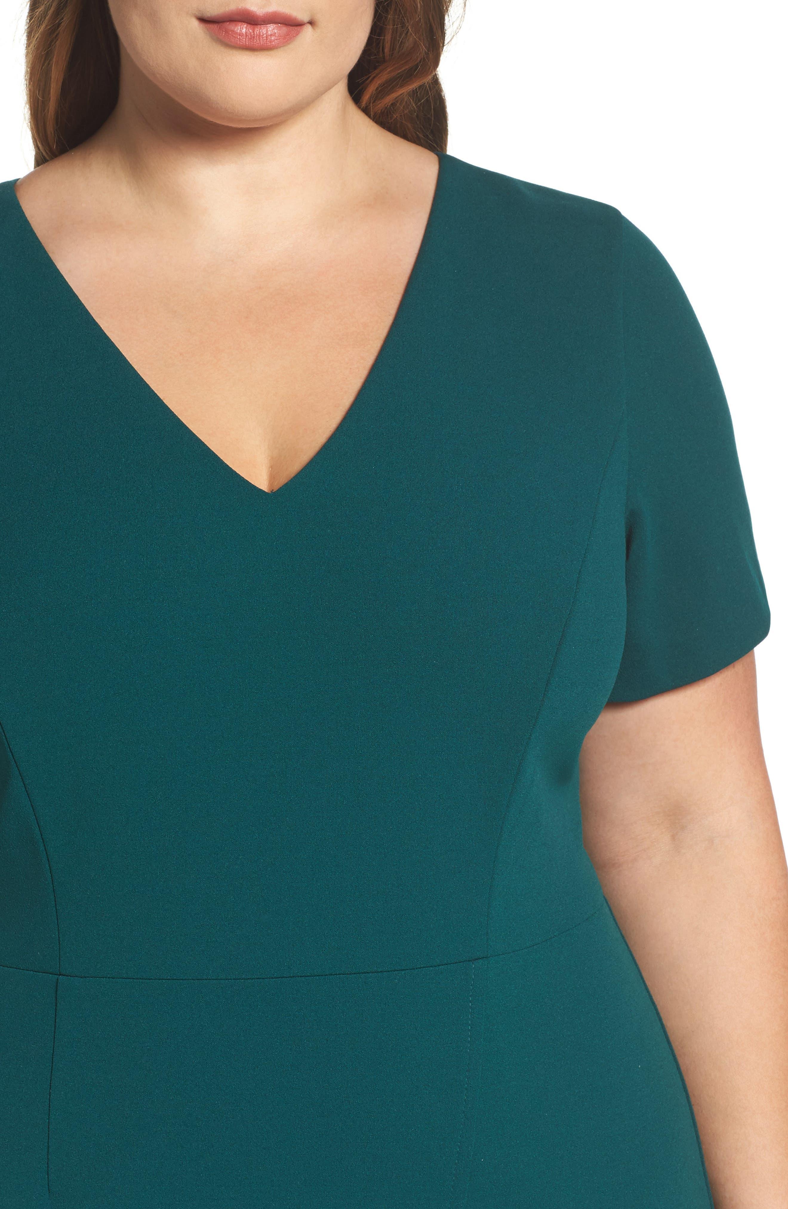 Scuba Crepe Sheath Dress,                             Alternate thumbnail 4, color,                             Dark Green