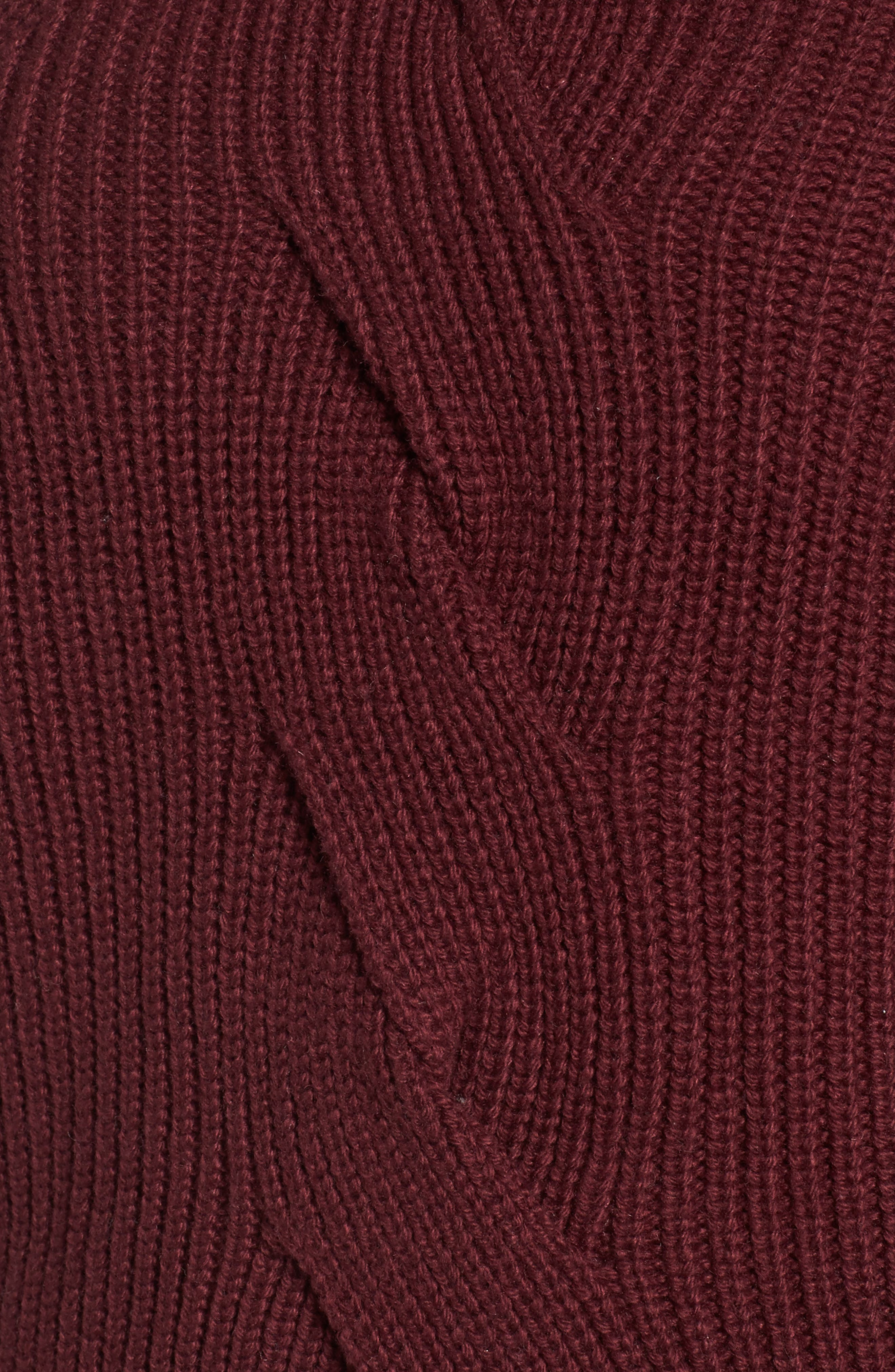 Cable Knit Puff Sleeve Sweater,                             Alternate thumbnail 5, color,                             Burgundy Royale