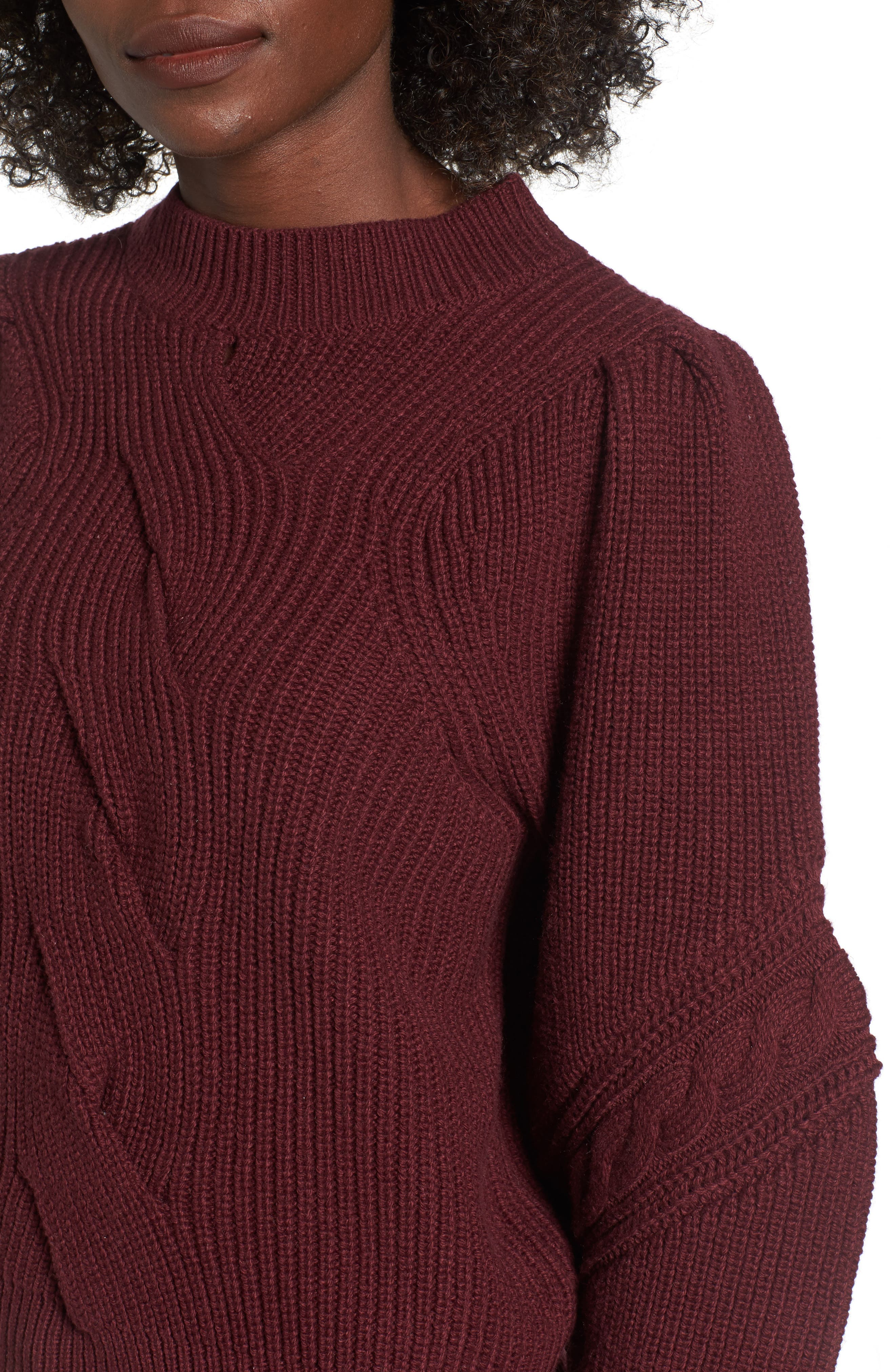 Cable Knit Puff Sleeve Sweater,                             Alternate thumbnail 4, color,                             Burgundy Royale